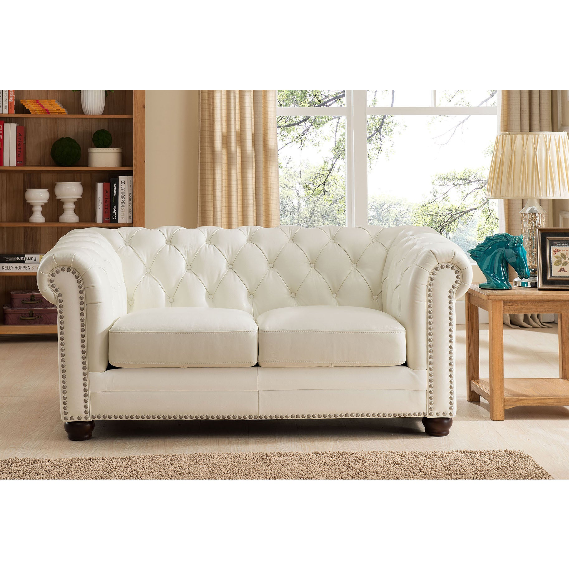 Nebraska Leather Chesterfield Sofa, Loveseat and Chair Set - Free ...