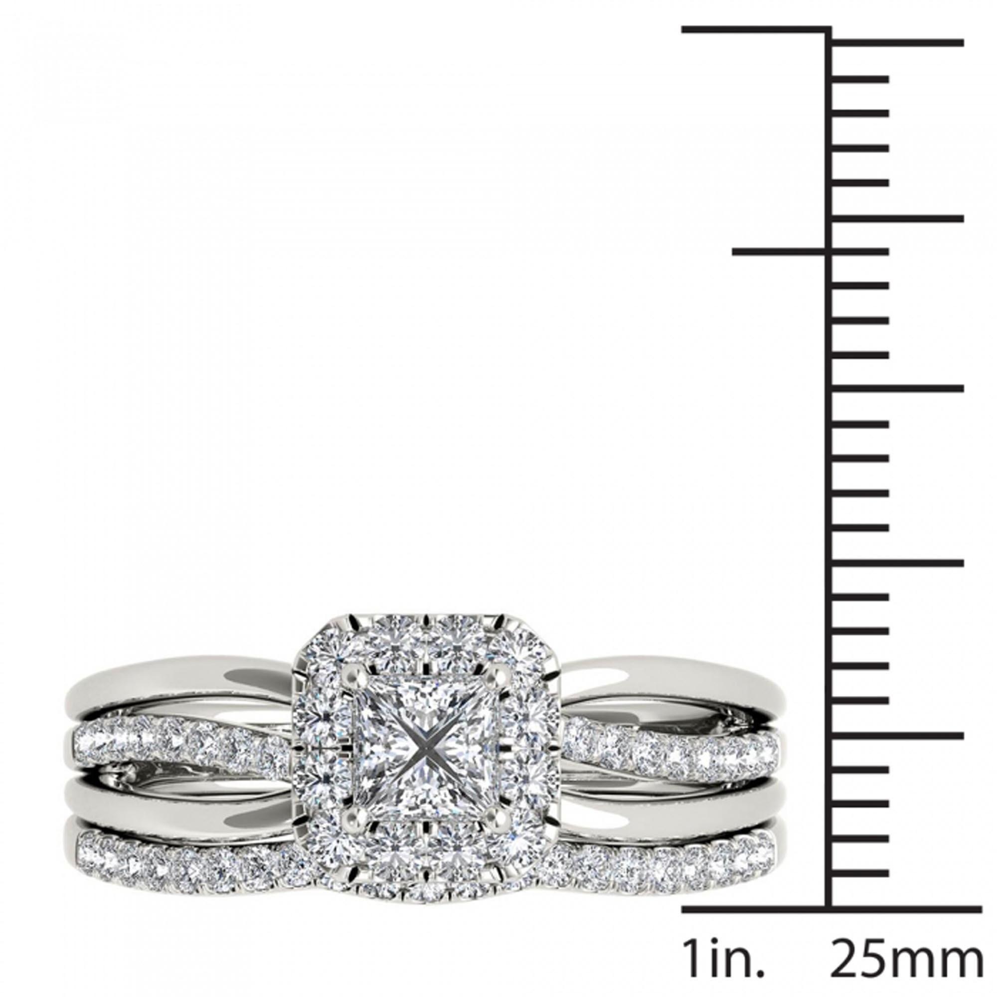 De Couer 14k White Gold 5/8ct TDW Princess-Cut Diamond Frame Bridal ...