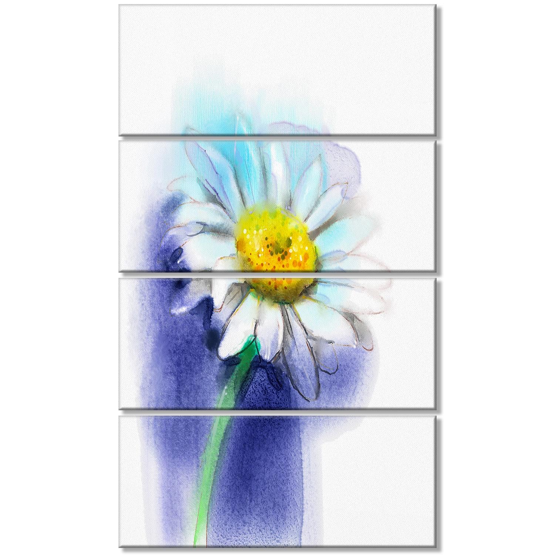 White Gerbera Daisy In Blue Large Flower Canvas Wall Art Free
