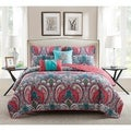 VCNY Casa Re'al Pink and Turquoise Reversible Quilt Set