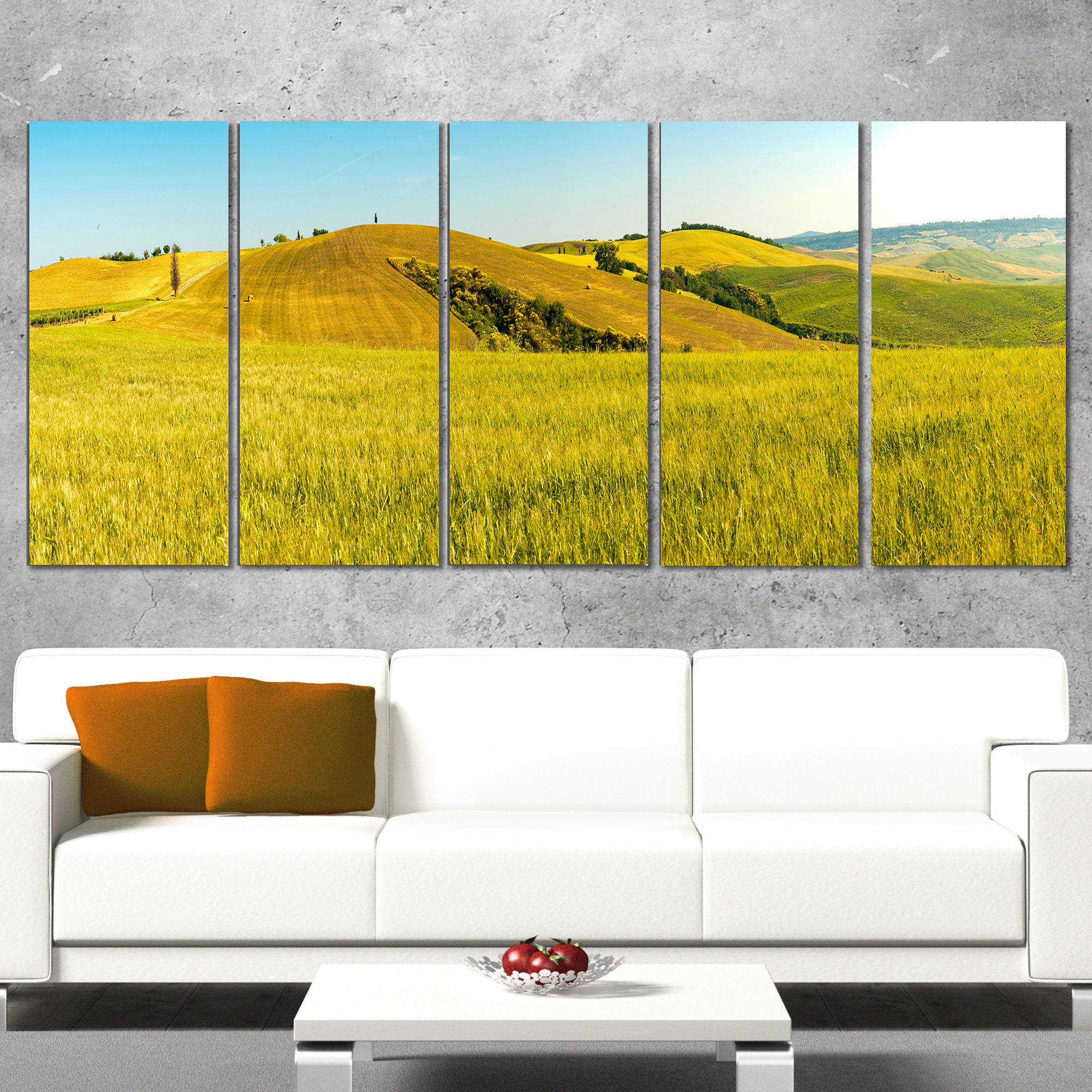 Tuscany Wheat Field on Sunny Day - Landscape Print Wall Artwork ...