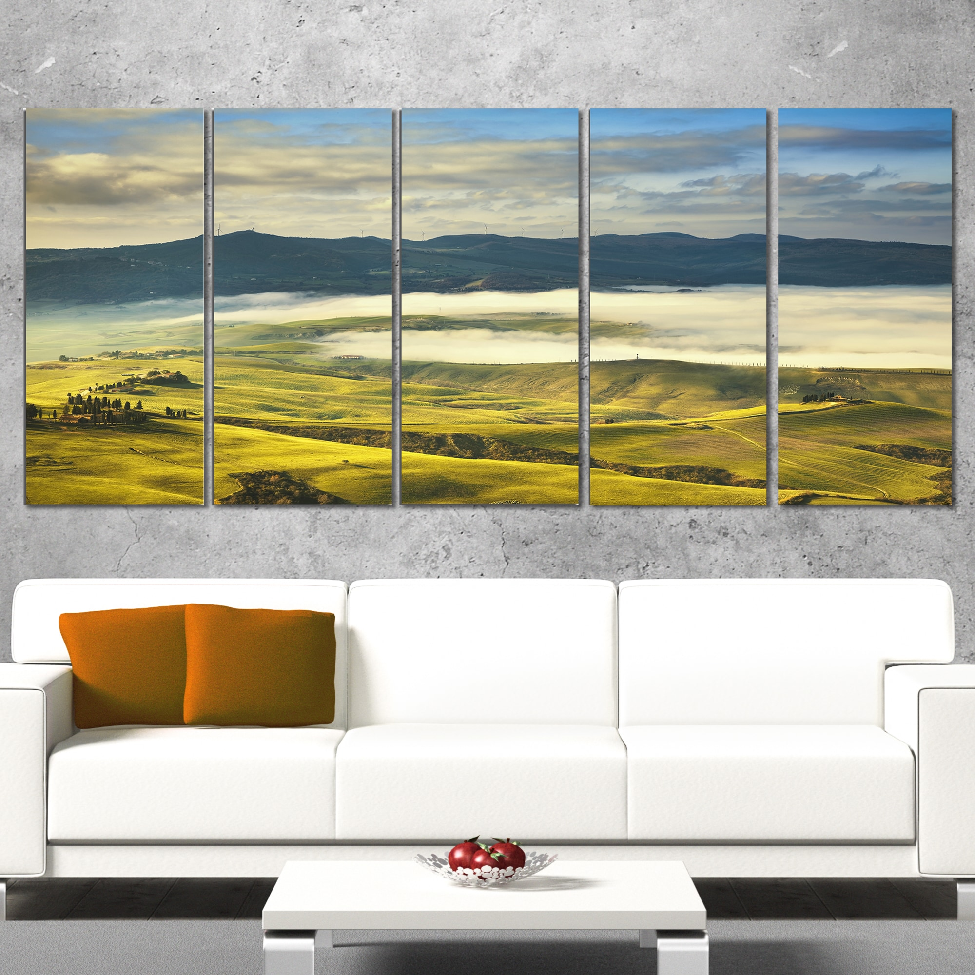 Shop Tuscany Farmland and Green Fields - Oversized Landscape Wall ...