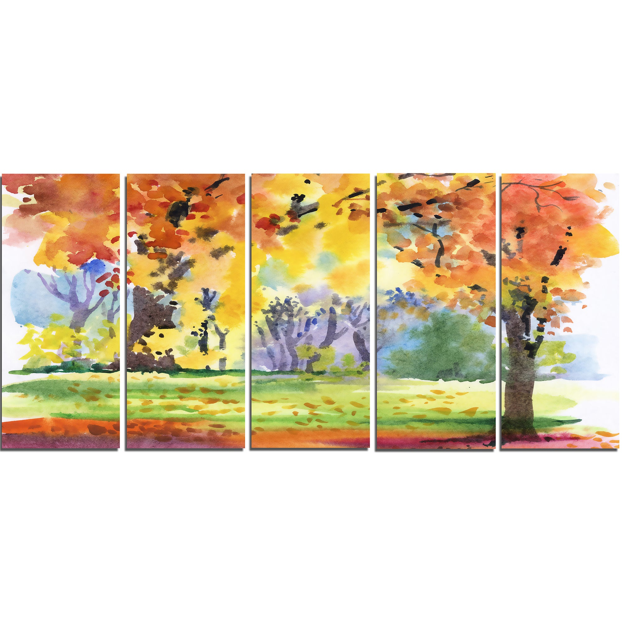 Autumn Park Yellow Trees Watercolor - Landscape Wall Art Canvas ...