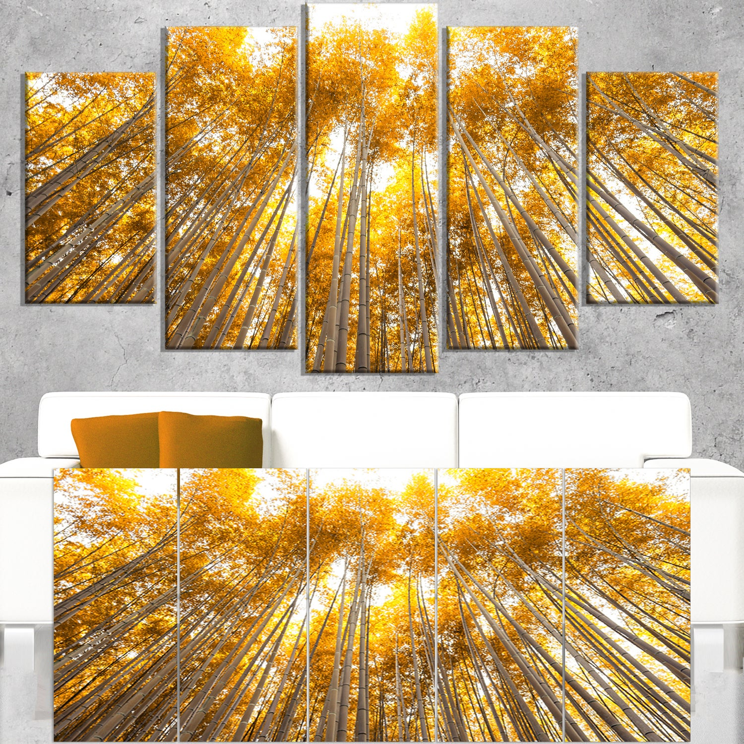 Autumn Bamboo Grove in Yellow - Oversized Forest Canvas Artwork ...