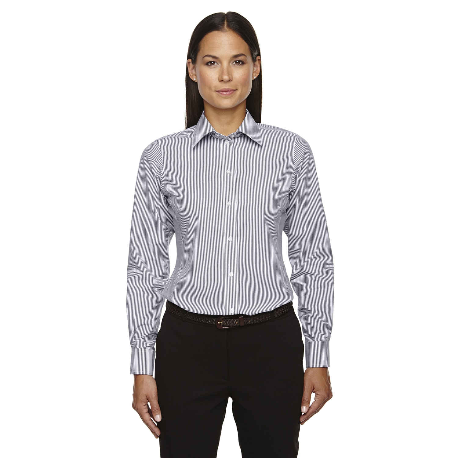 Shop Crown Collection Womens Banker Dress Stripe Navy Shirt Free