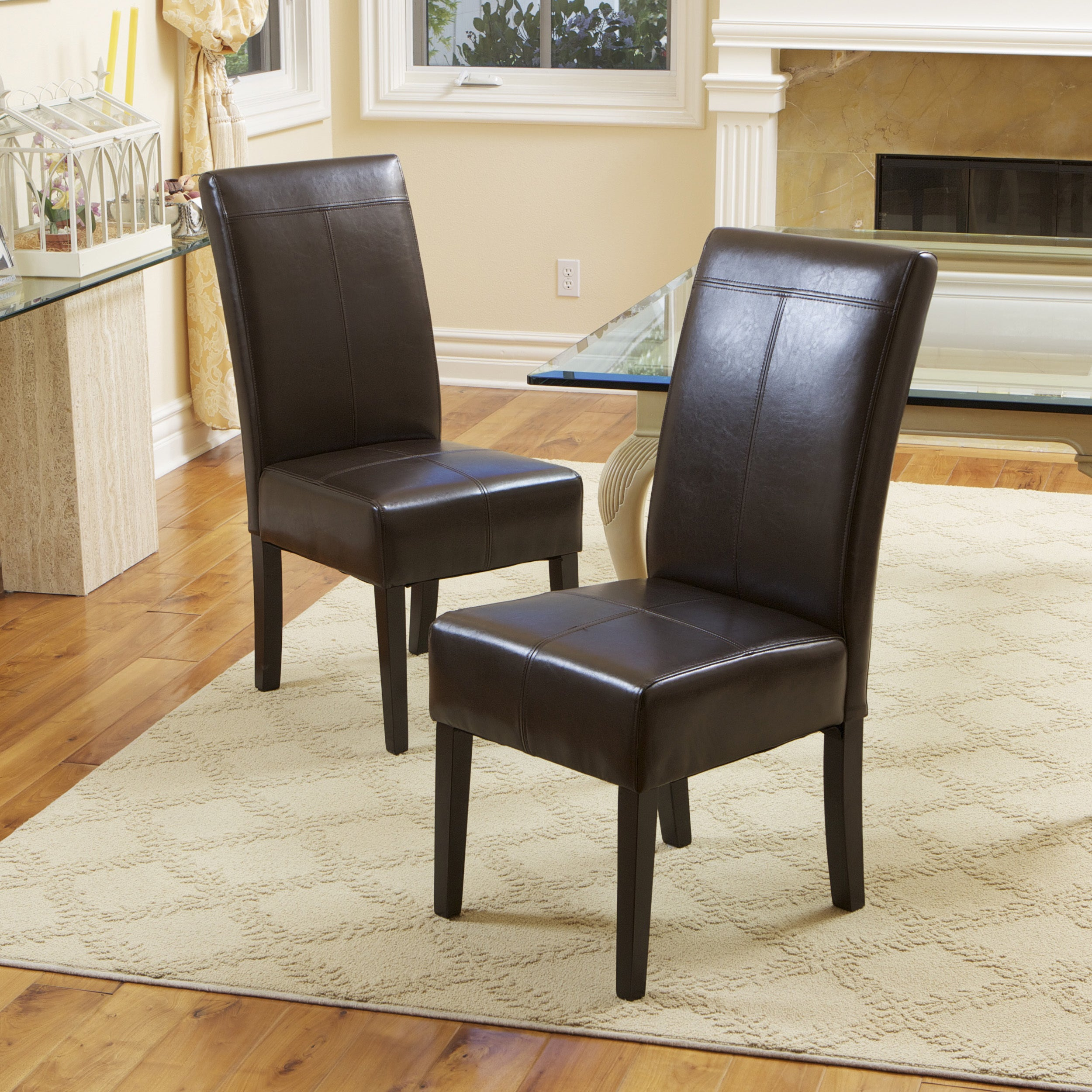 T Sch Chocolate Brown Bonded Leather Dining Chair Set Of 6 By Christopher Knight Home