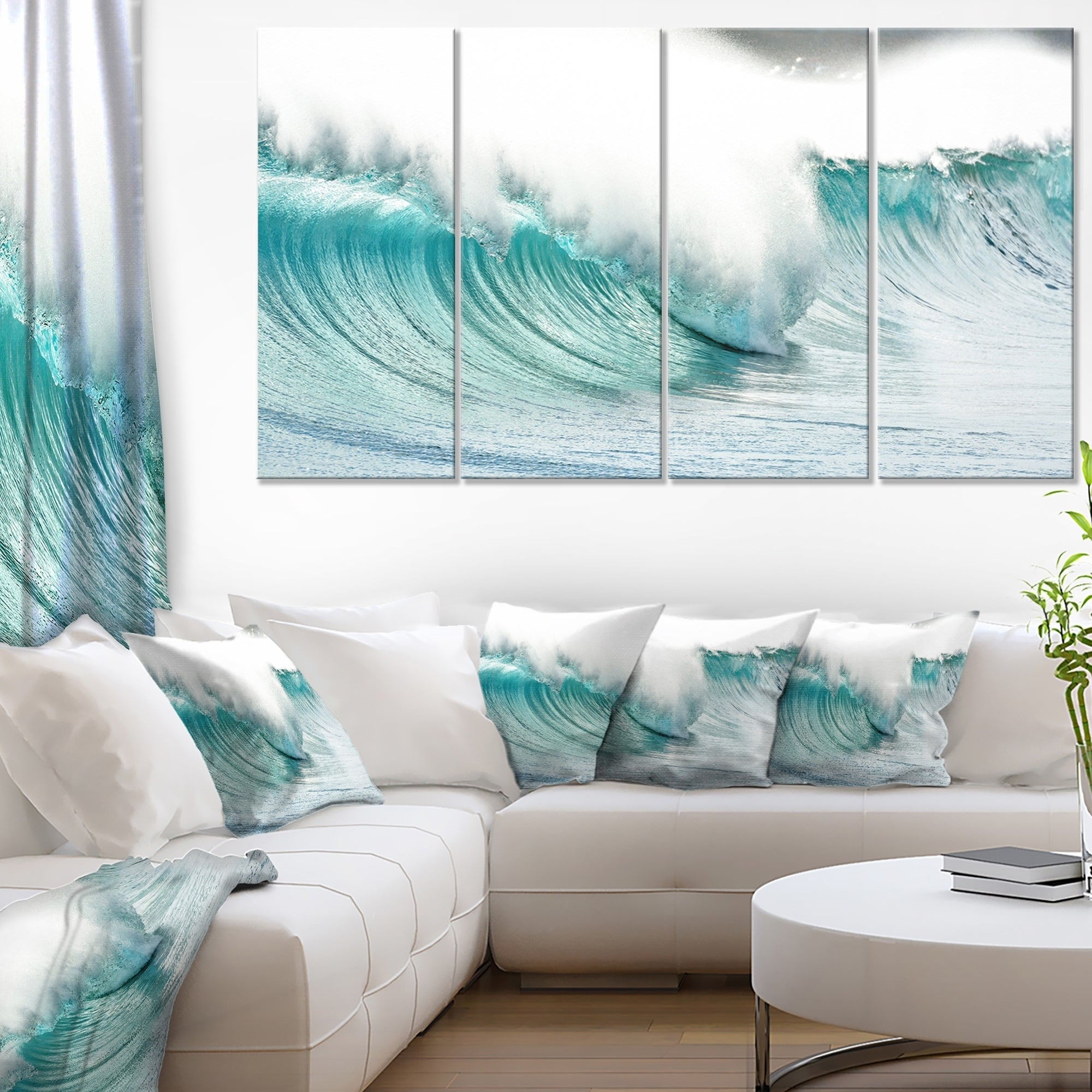 Massive Blue Waves Breaking Beach - Contemporary Seascape Art Canvas ...