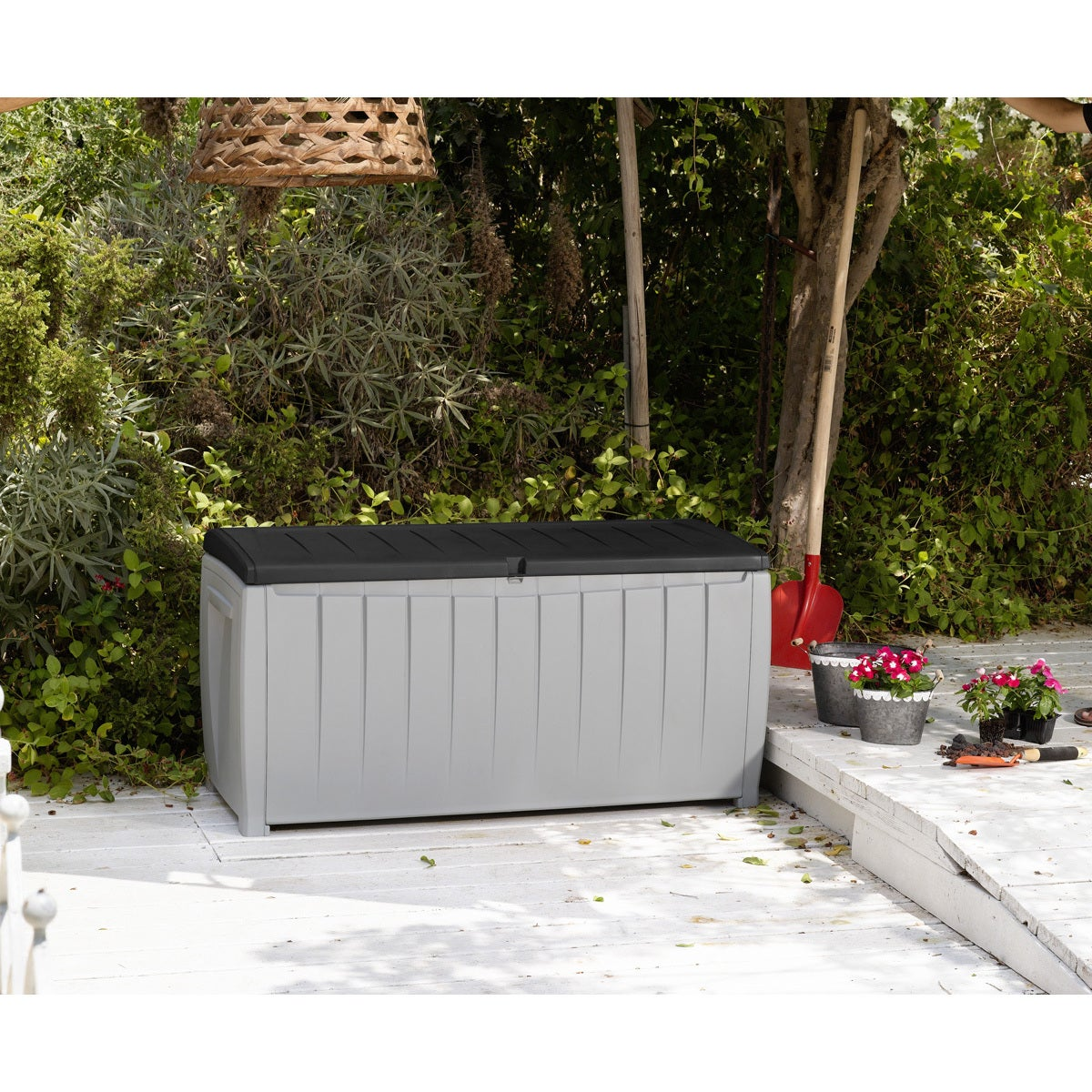Charming Keter Novel 90 Gallon Black And Grey Plastic Deck Storage Box   Free  Shipping Today   Overstock   19140500