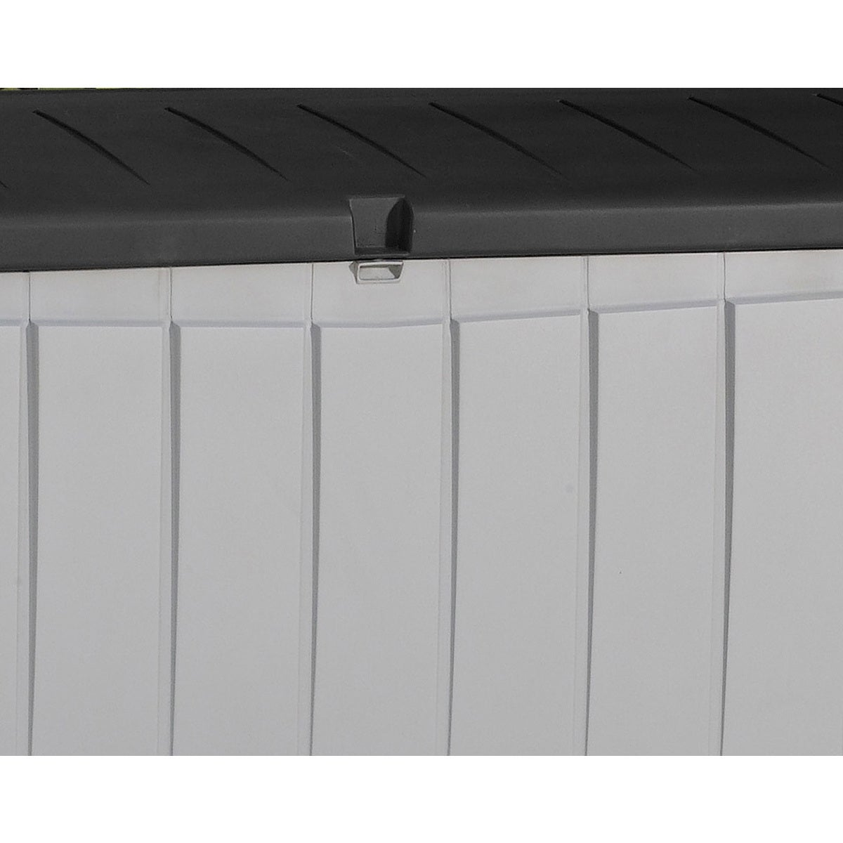 Good Keter Novel 90 Gallon Black And Grey Plastic Deck Storage Box   Free  Shipping Today   Overstock   19140500