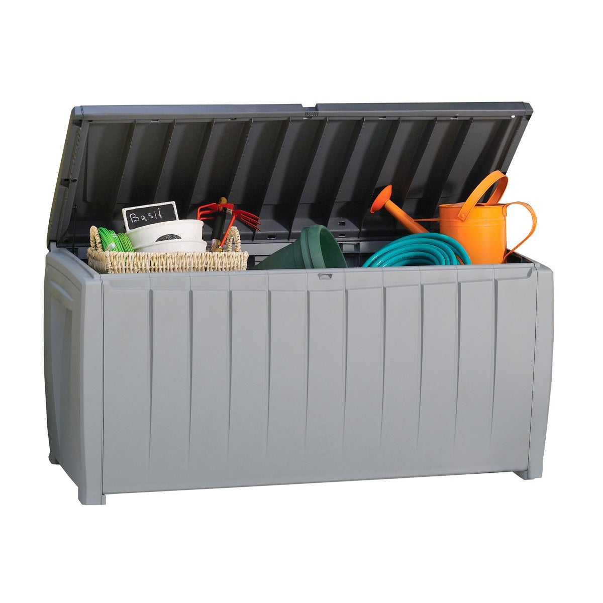 Shop Keter Novel 90 Gallon Black And Grey Plastic Deck Storage Box   Free  Shipping Today   Overstock.com   12306031
