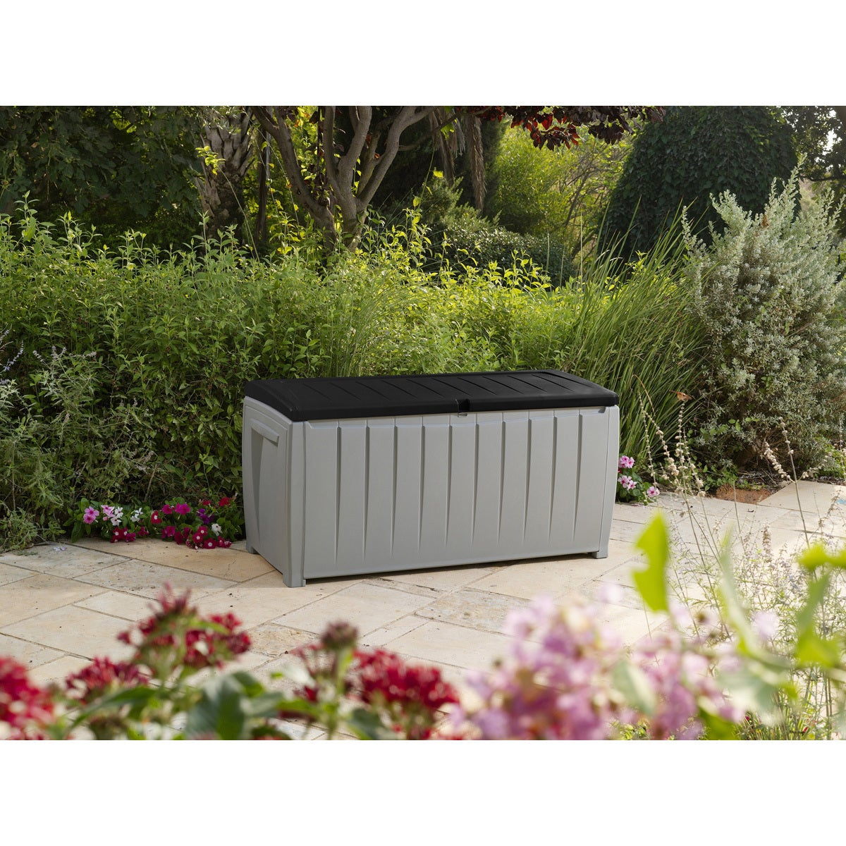 Keter Novel 90 Gallon Black And Grey Plastic Deck Storage Box   Free  Shipping Today   Overstock   19140500