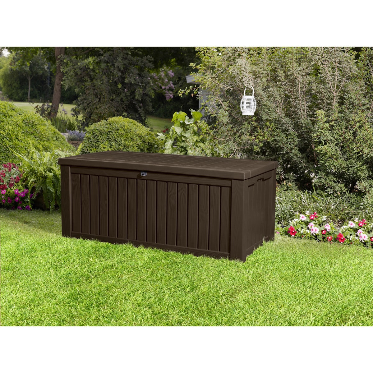 Keter Rockwood Plastic Deck Storage 150 Gallon Brown Patio Bench Box Free Shipping Today 19140502