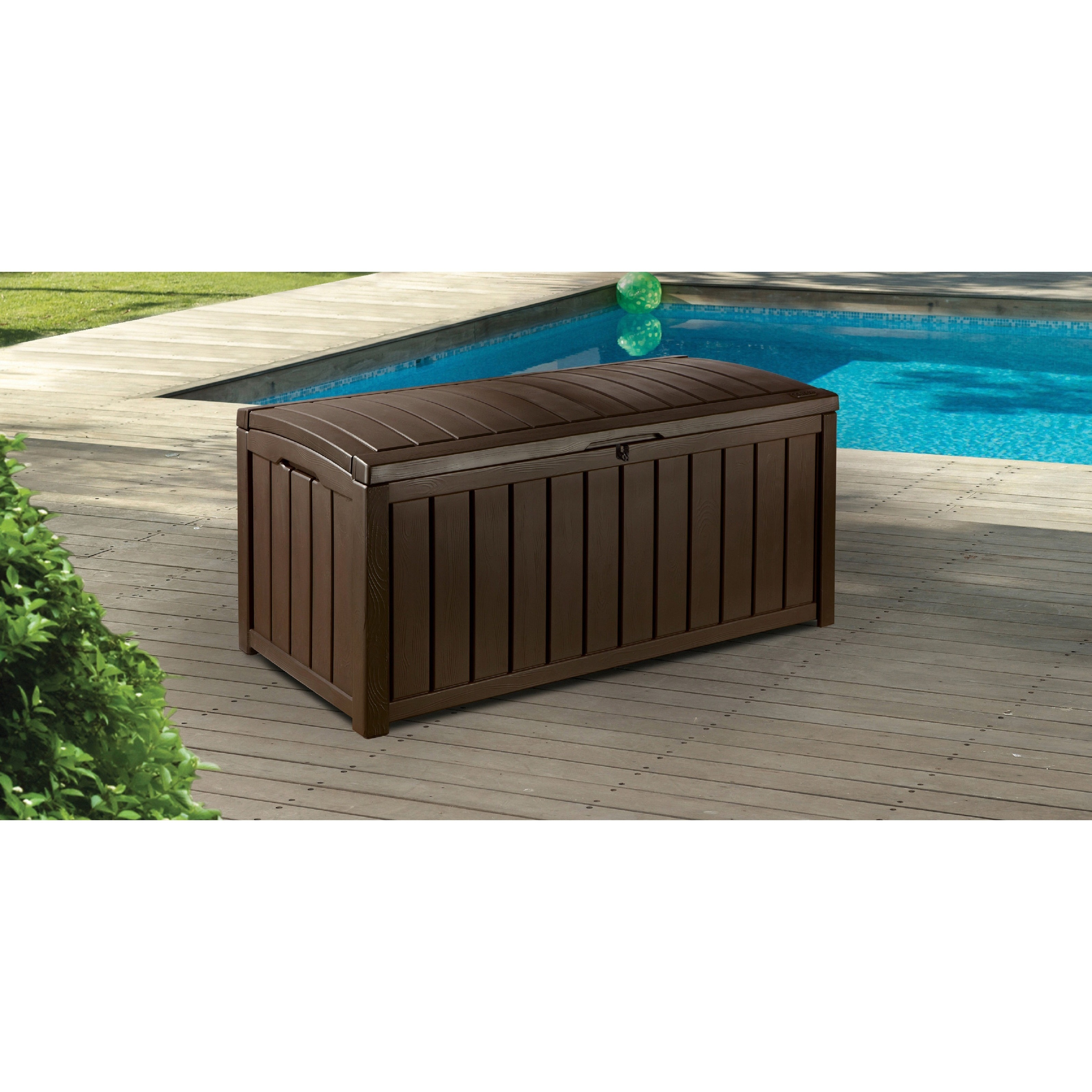 Brown Plastic Outdoor Patio Deck Storage Box - Free Shipping Today - Overstock.com - 12306128  sc 1 st  Overstock.com & Shop Keter Glenwood 101 gal. Brown Plastic Outdoor Patio Deck ...