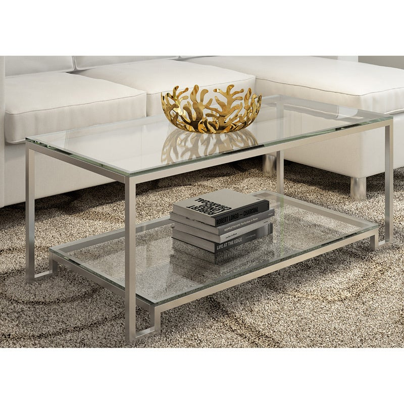 Shop Large Demster Metal And Glass Rectangle Coffee Table   Free Shipping  Today   Overstock.com   12306513