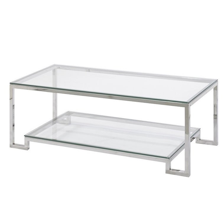 Small Demster Metal and Glass Rectangle Coffee Table Free Shipping