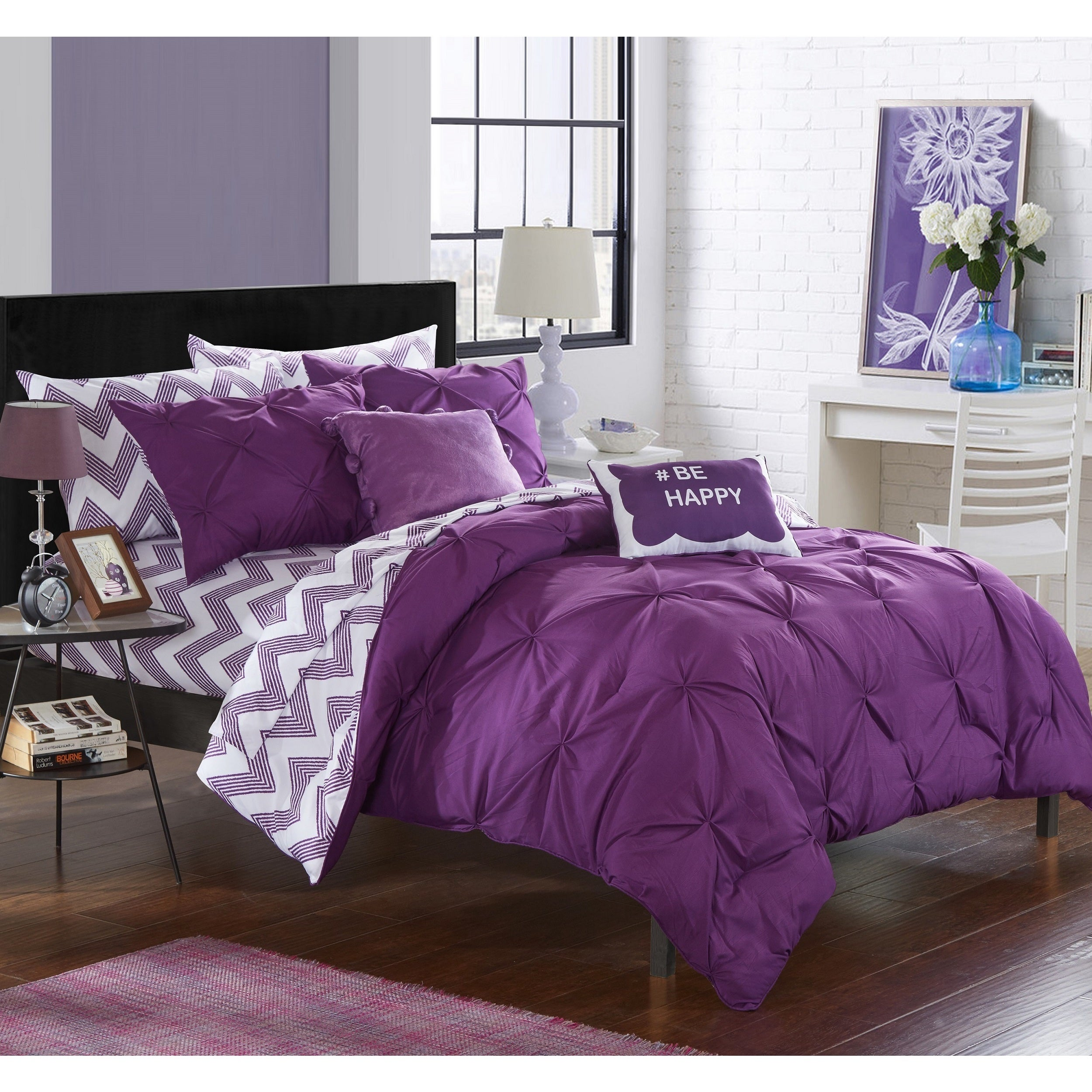 bedding product shipping oliver purple piece overstock bath comforter mona today james free pleated set