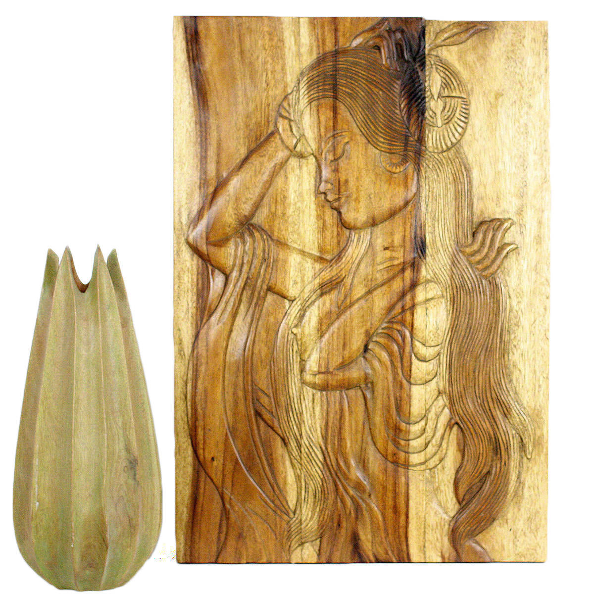 Shop Handmade Acacia Antique Oak Oil Phuying 20 x 30-inch Carved ...