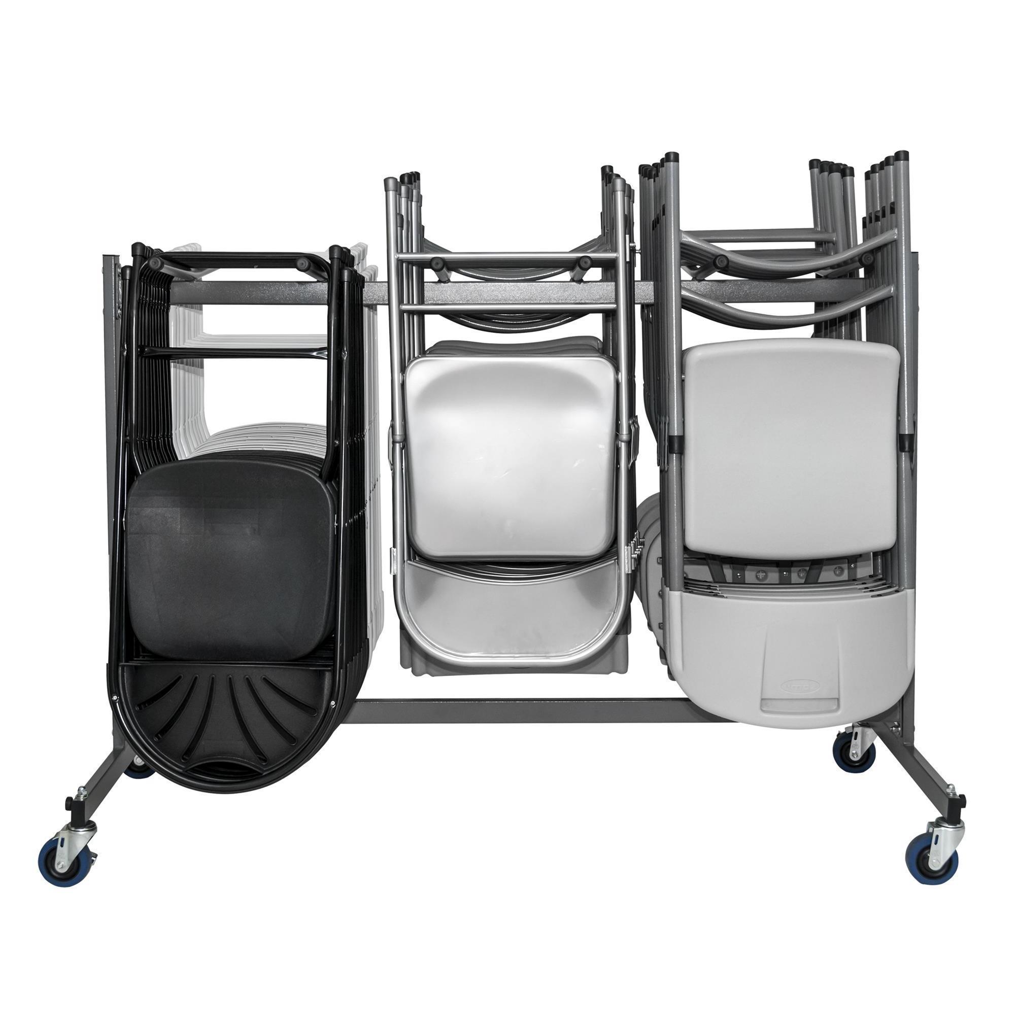 COSCO mercial Heavy Duty Grey Folding Chair Trolley Cart with