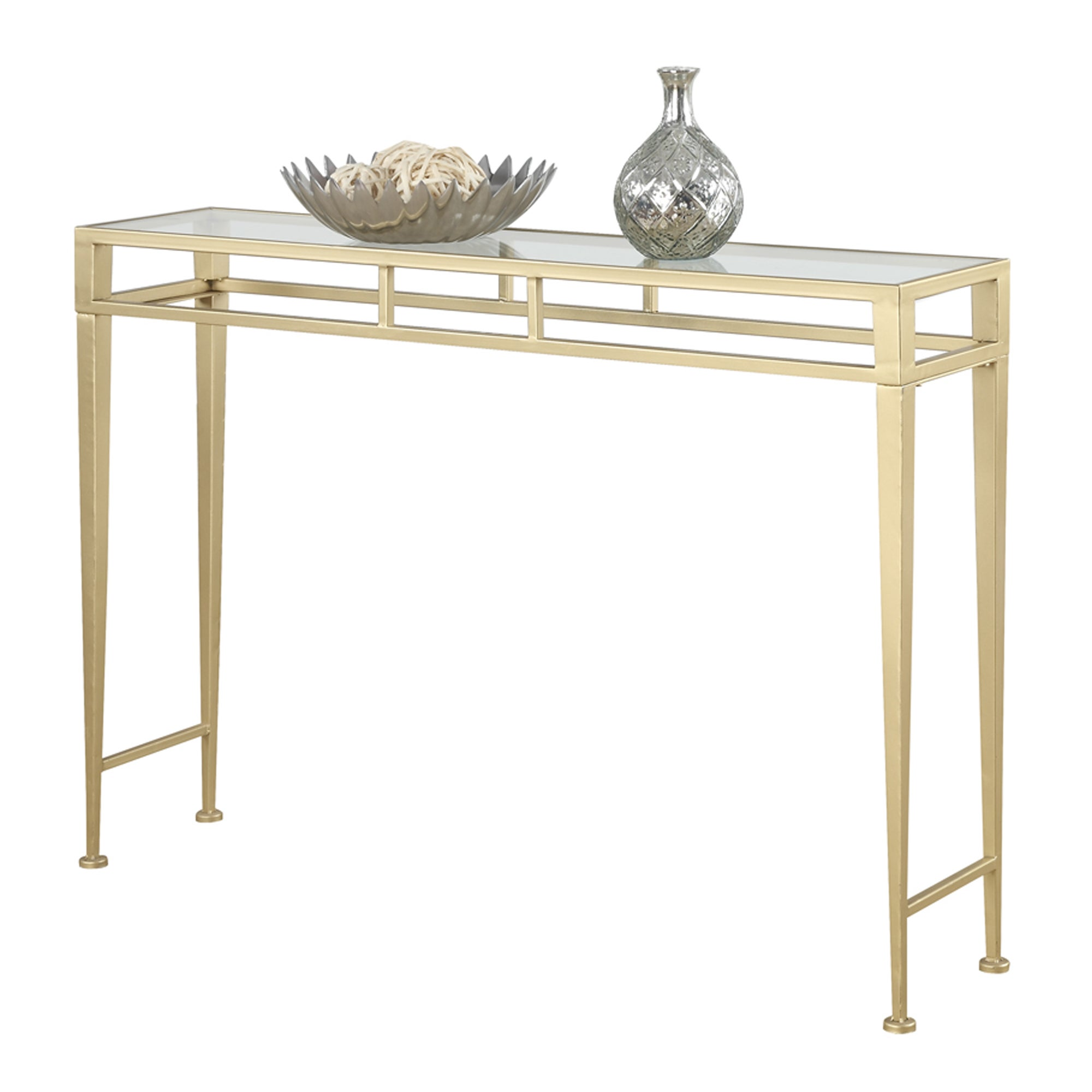 Shop Silver Orchid Grant Hall Iron And Glass Console Table   Free Shipping  Today   Overstock.com   20559166