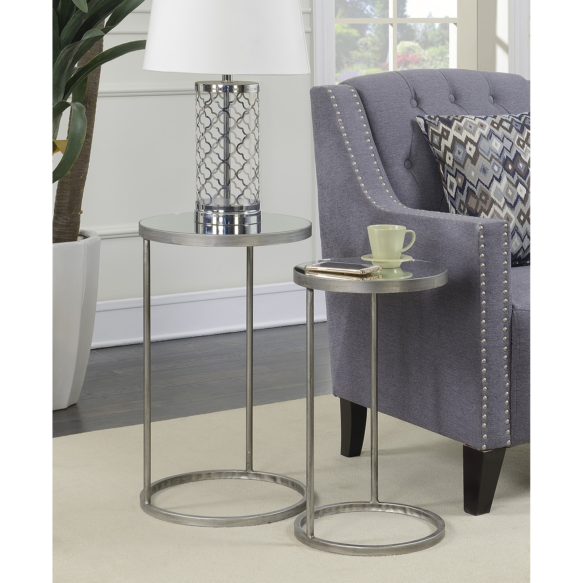 Convenience Concepts Gold Coast Round Nesting Mirror End Tables