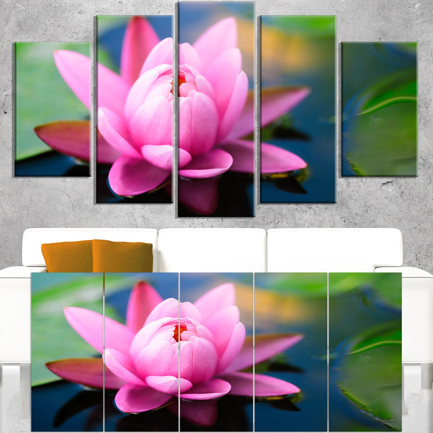 Shop large lotus flower in the pond large floral canvas art print shop large lotus flower in the pond large floral canvas art print blue on sale free shipping today overstock 12310229 mightylinksfo