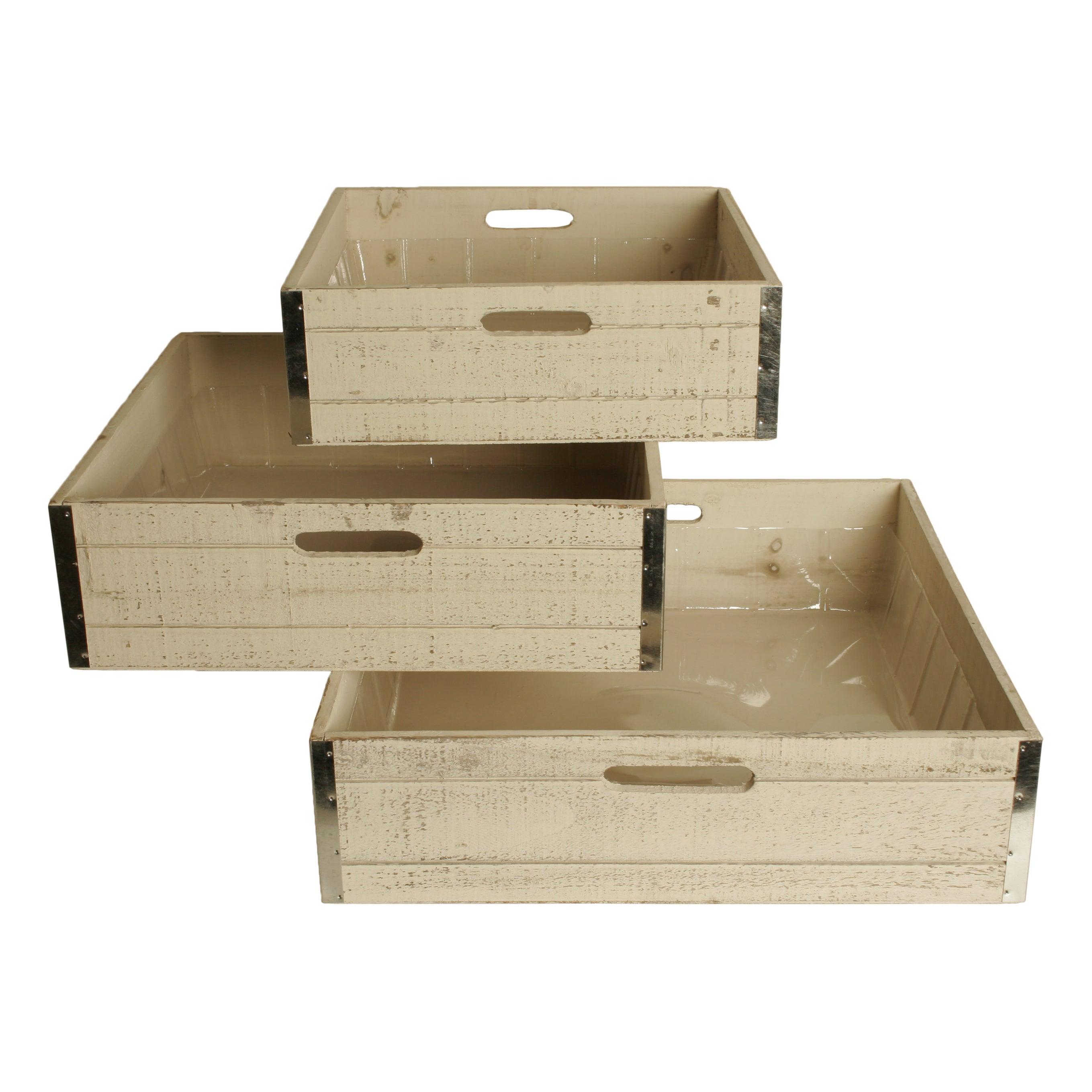 Wald Imports Large Whitewash Wood Storage Crates (Set Of 3)