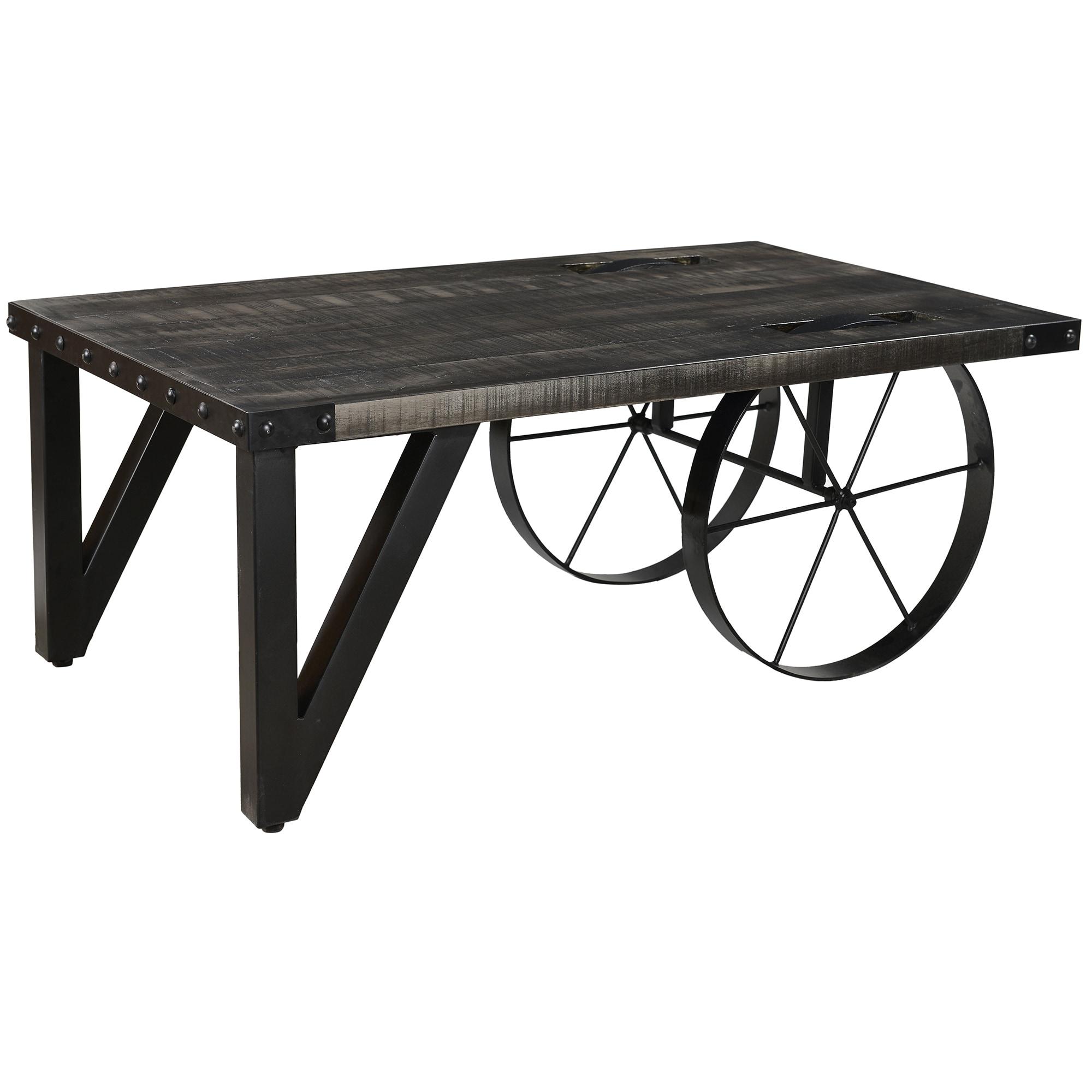 Zahir Distressed Grey Mango Wood Cast Iron Coffee Table
