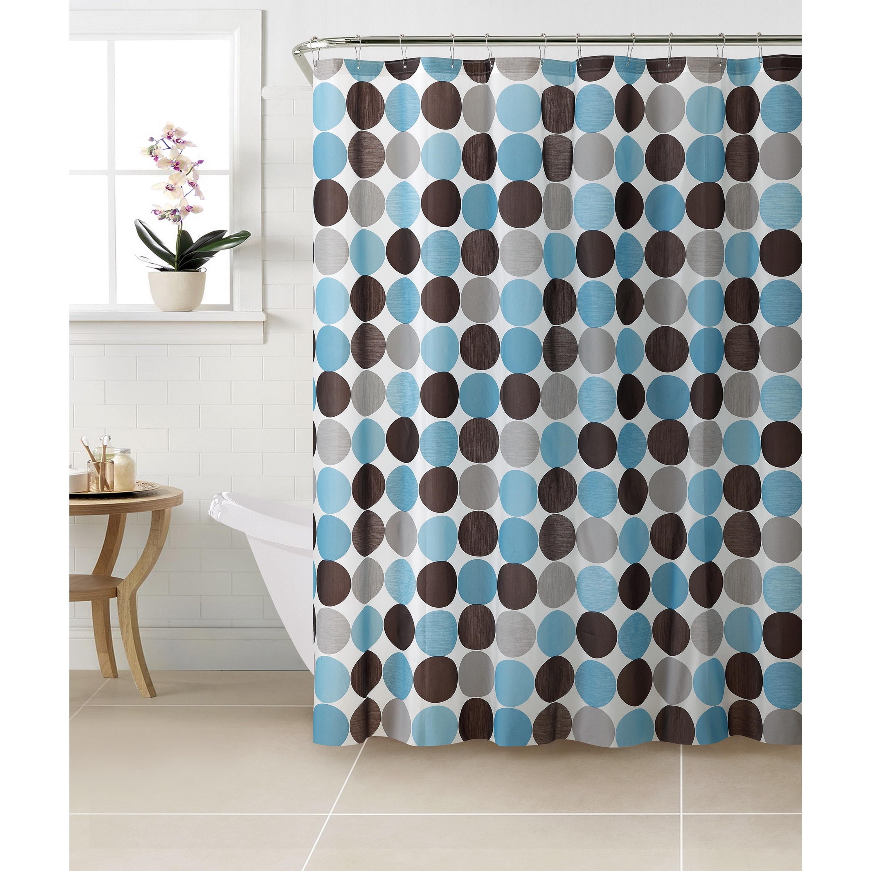 Shop Bath Bliss Circles Design PEVA Shower Curtain with 12 Hook Set ...