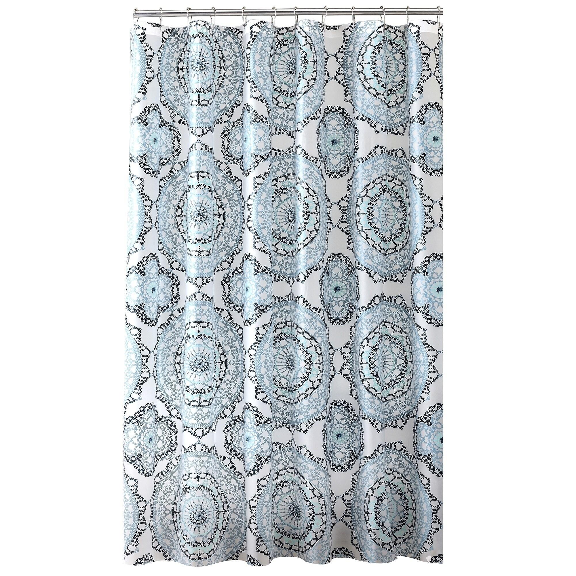 Shop Bath Bliss Mandala Design PEVA Shower Curtain in Blue & Green ...