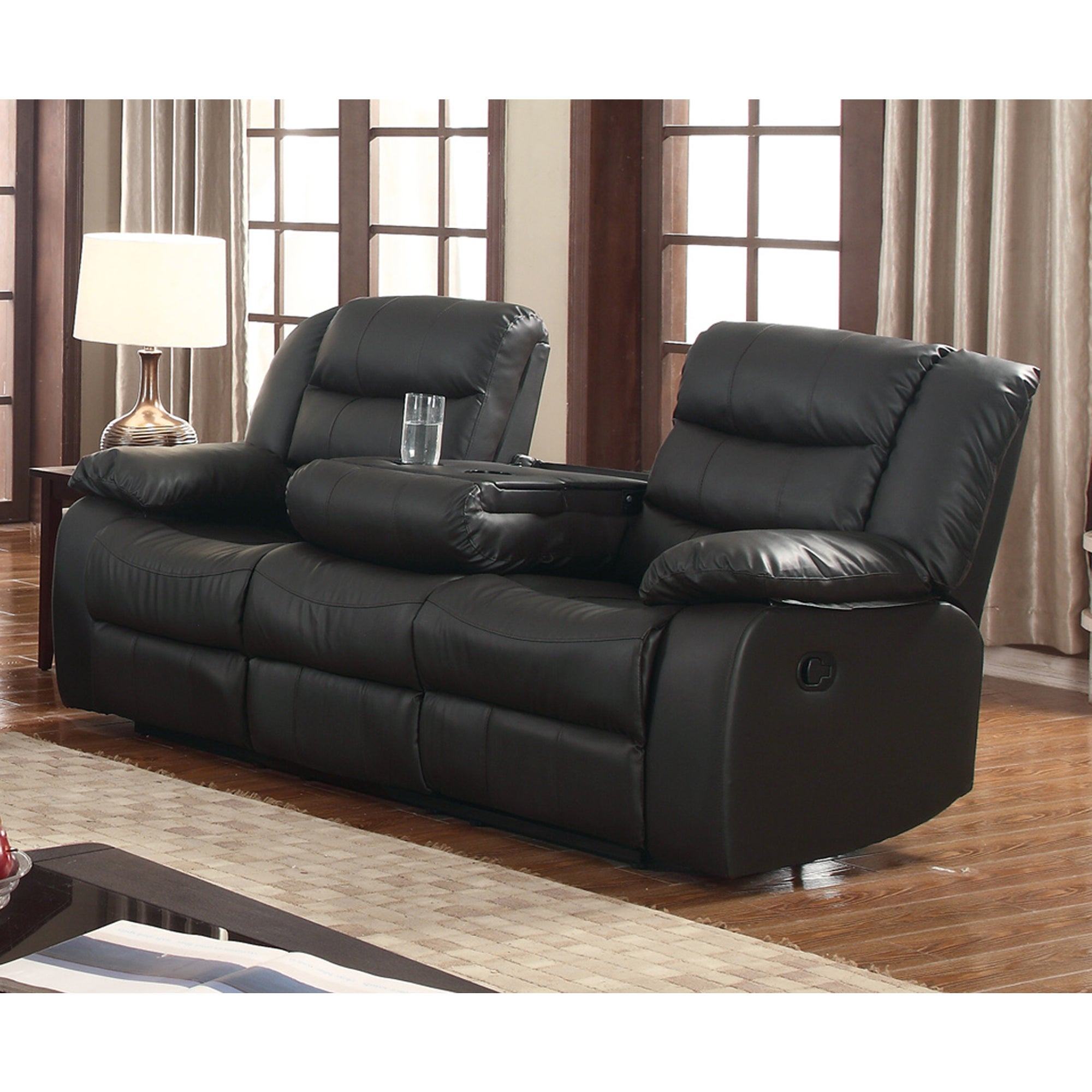 Gloria Faux Leather Living Room Reclining Sofa With Drop Down Table
