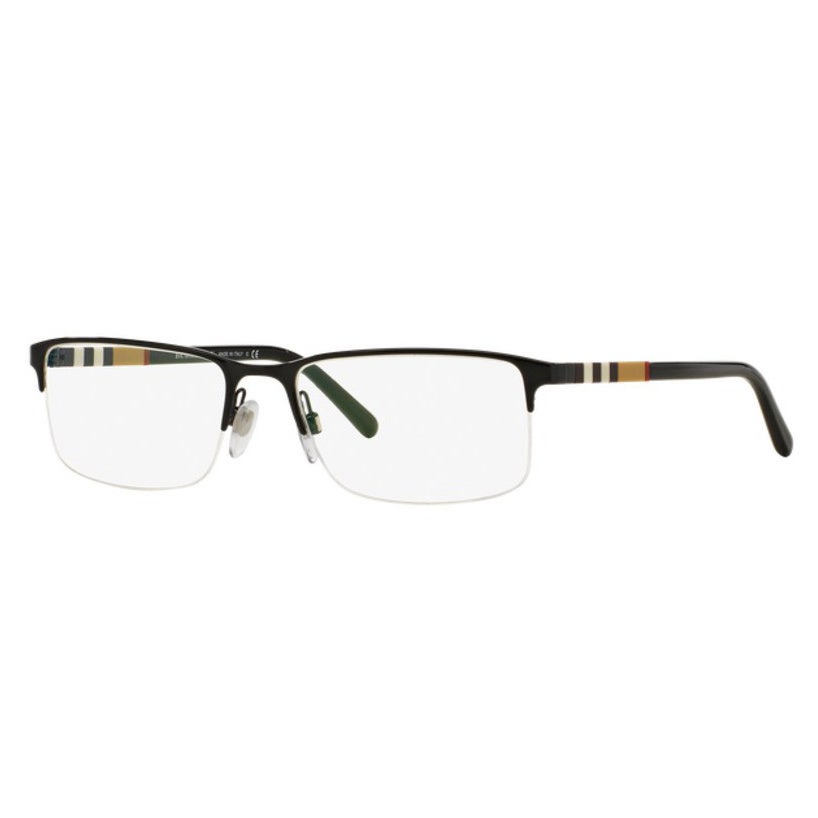 f53ad16e74a5 Burberry Unisex BE1282 1001 Black Rectangle Semi Metal Rimless Eyeglasses  with 55mm Lens