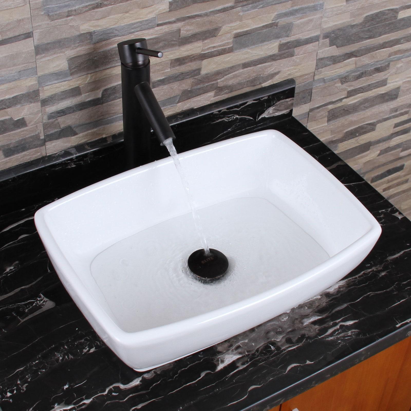 ELIMAX\'S Unique Rectangle Shape White Porcelain Bathroom Vessel Sink ...
