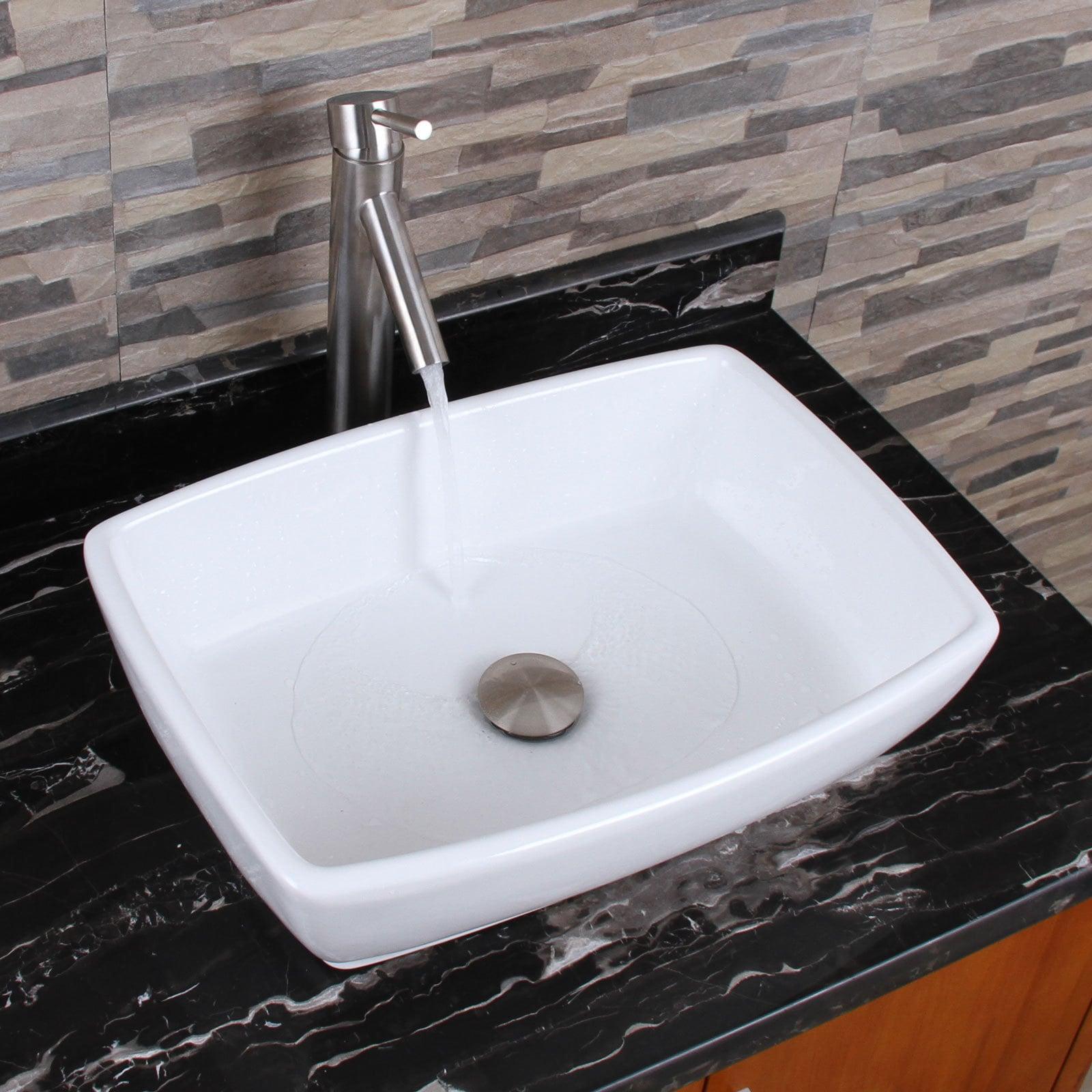 ELIMAX\'S Unique Rectangle Shape White Porcelain Bathroom Vessel ...