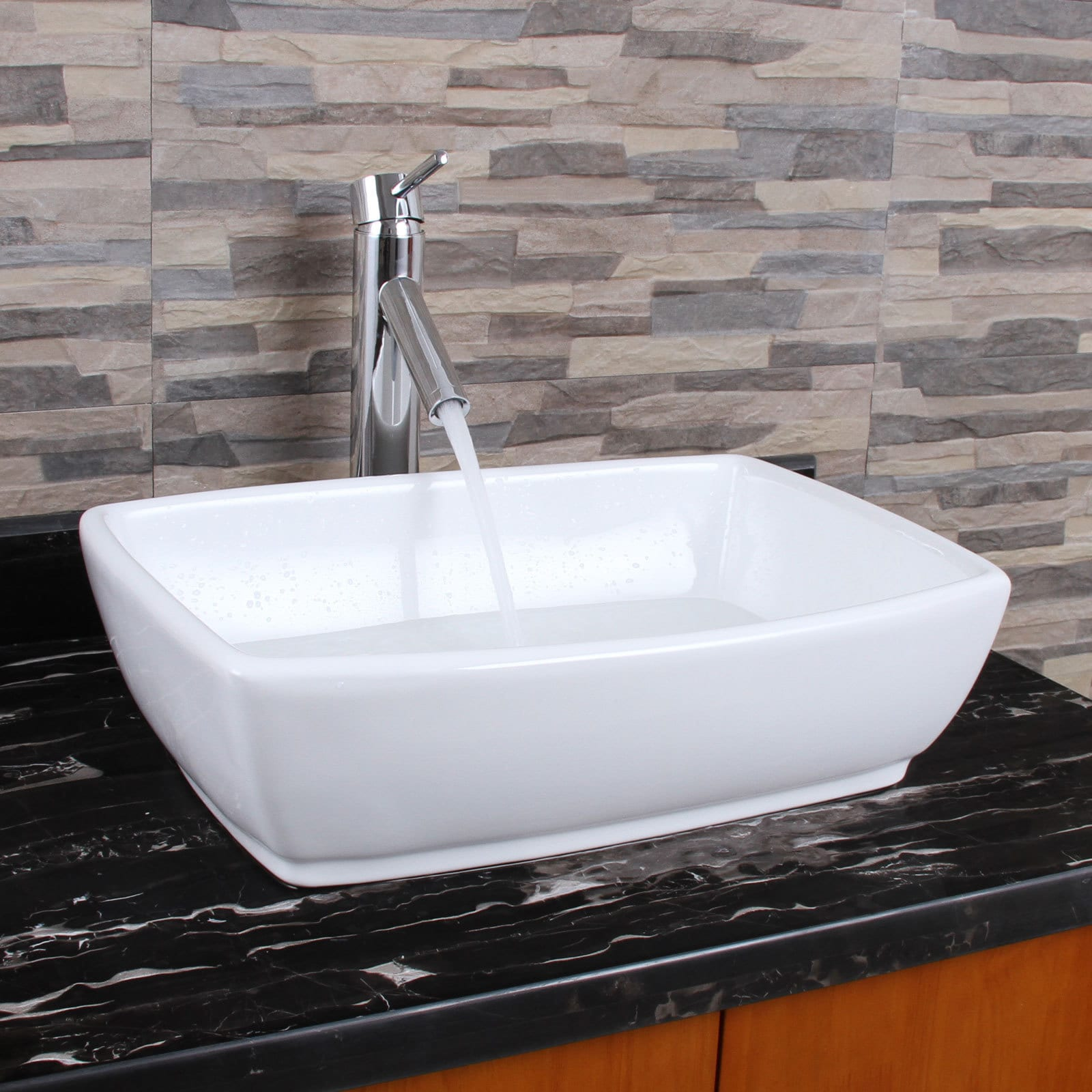 Elimax S Unique Rectangle Shape White Porcelain Bathroom Vessel Sink With Faucet Combo Free Shipping Today 12318089