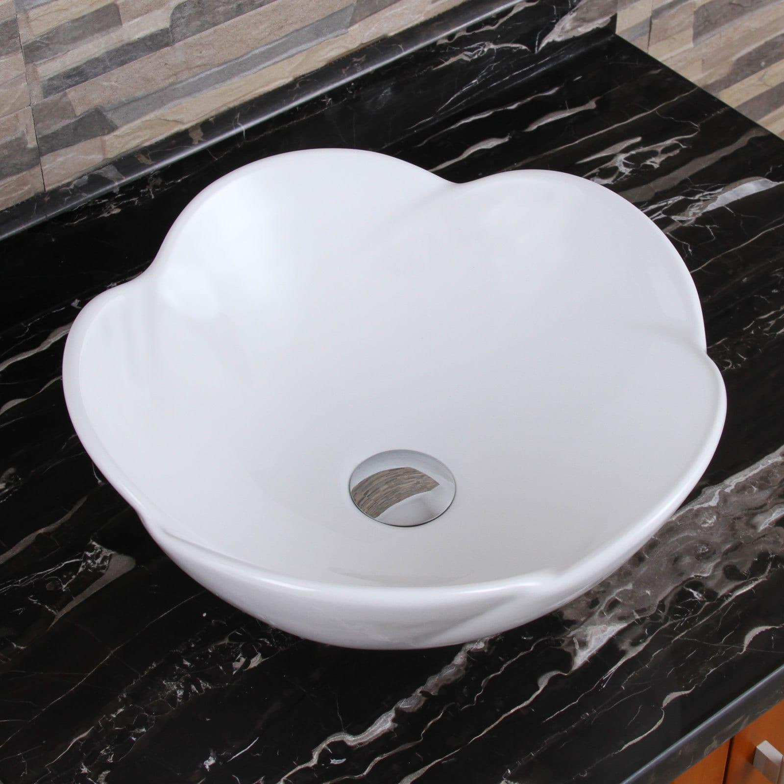 Shop ELIMAX\'S 301+F22T Lotus Round Shape White Porcelain Ceramic ...