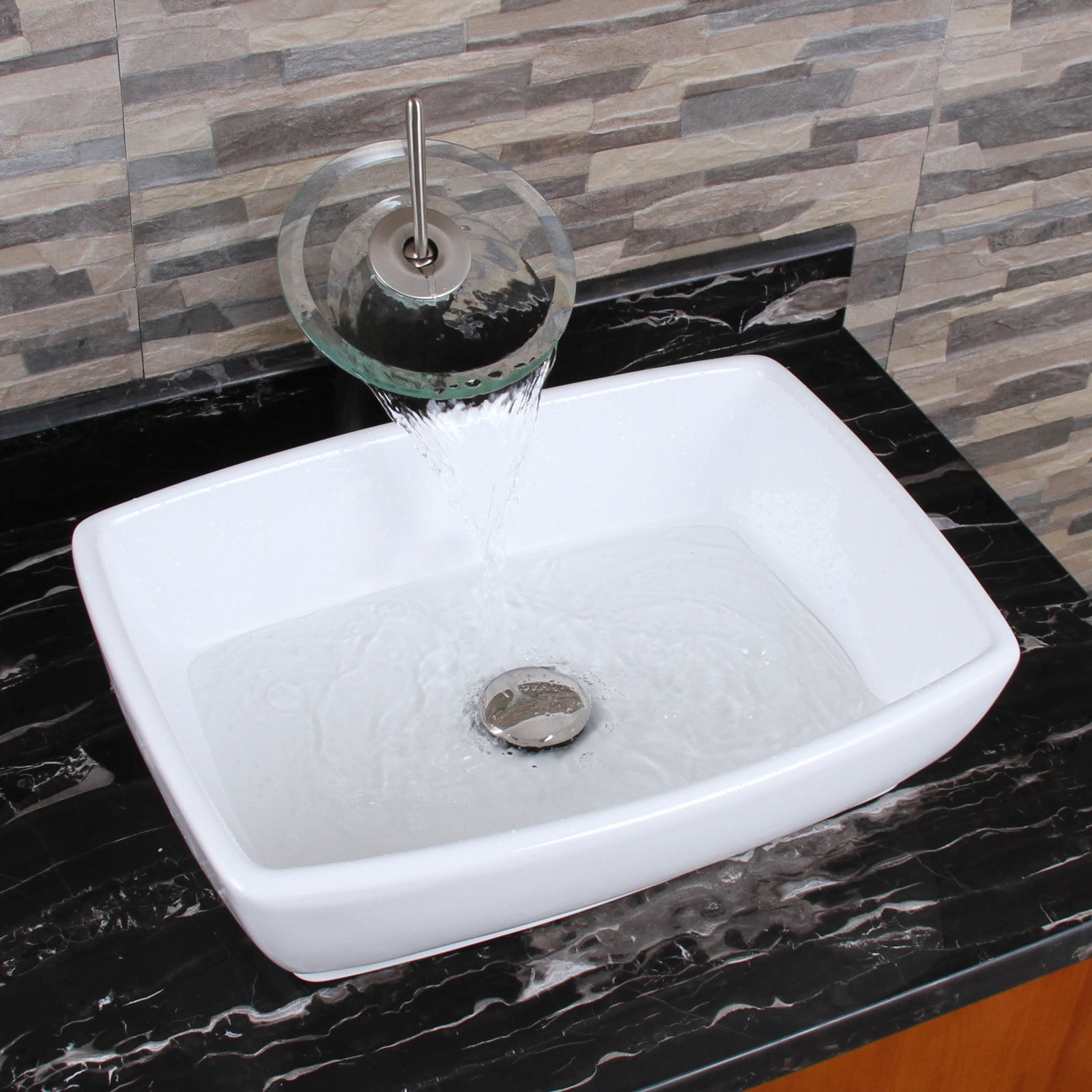 ELIMAX'S 302 Unique Rectangle Shape White Porcelain Ceramic Bathroom Vessel Sink