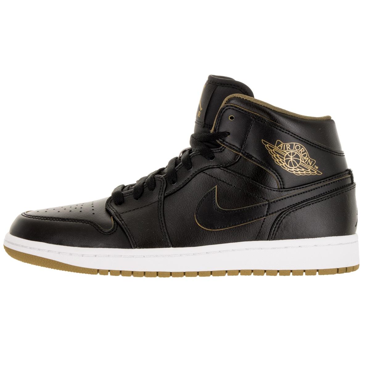 776a3d802e3 Shop Nike Jordan Men s Air Jordan 1 Mid Black Metallic Gold White  Basketball Shoe - Free Shipping Today - Overstock - 12318721