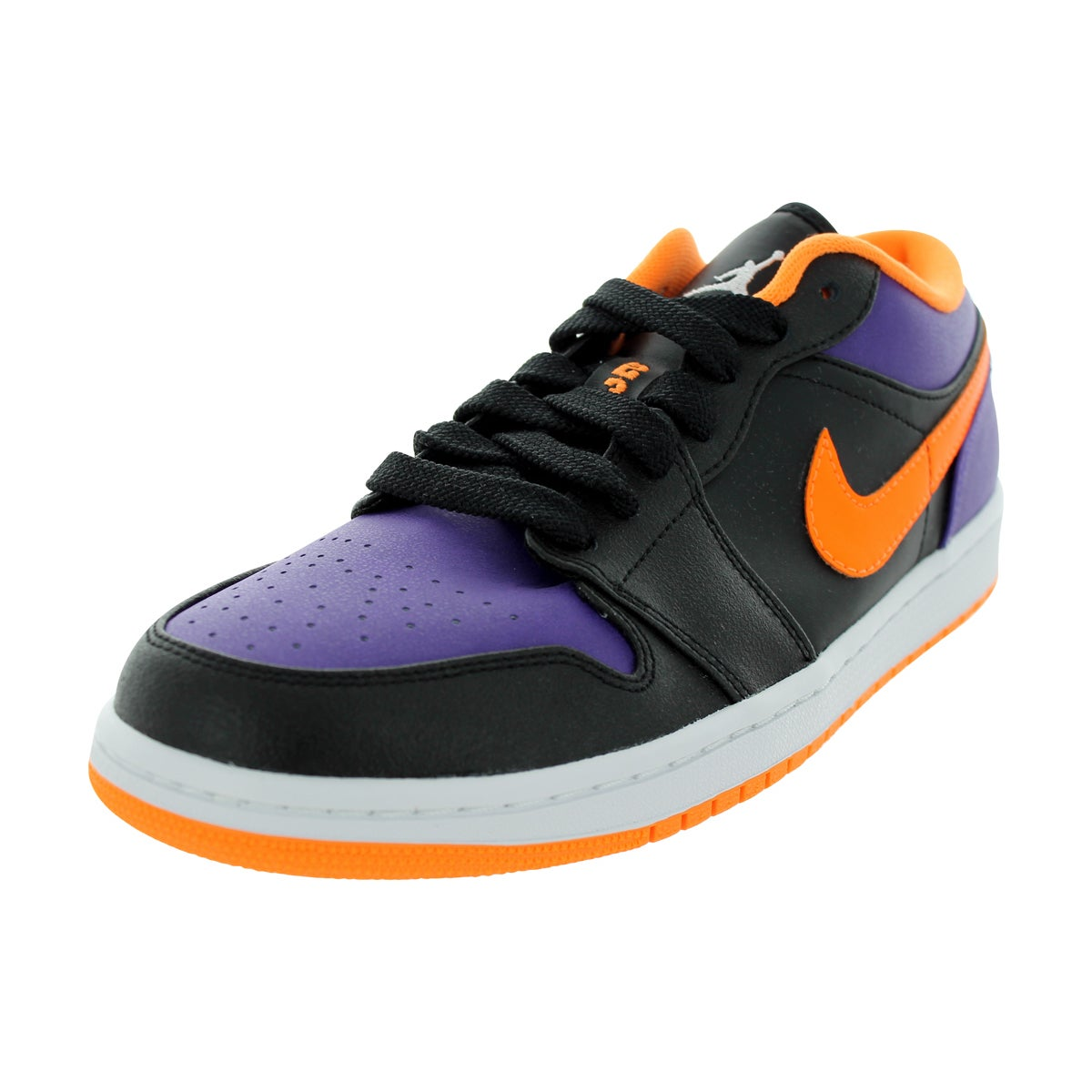 Shop Nike Men s Air Jordan 1 Low Black Brght Ctrsurple White Basketball  Shoe - Free Shipping Today - Overstock - 12318740 8f9b5c6f4