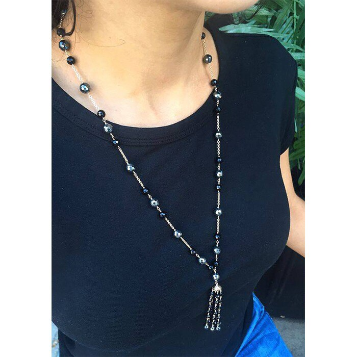 6feff1748bf6a7 Shop 14k White Gold Spinel/Hematite/Black Onyx Tassel Necklace - Free  Shipping Today - Overstock - 12319342