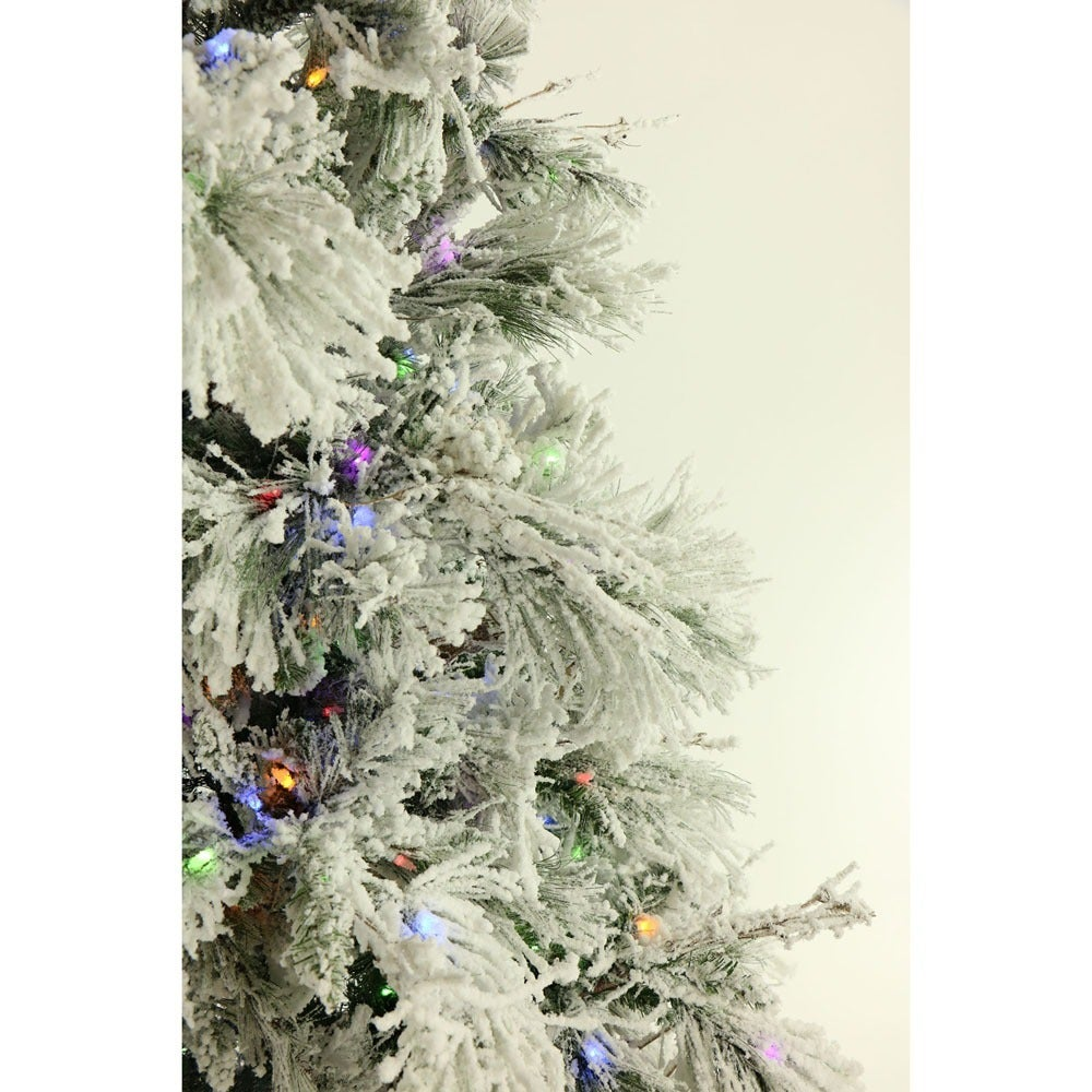 Shop Fraser Hill Farm 9-foot Flocked Snowy Pine Christmas Tree with ...