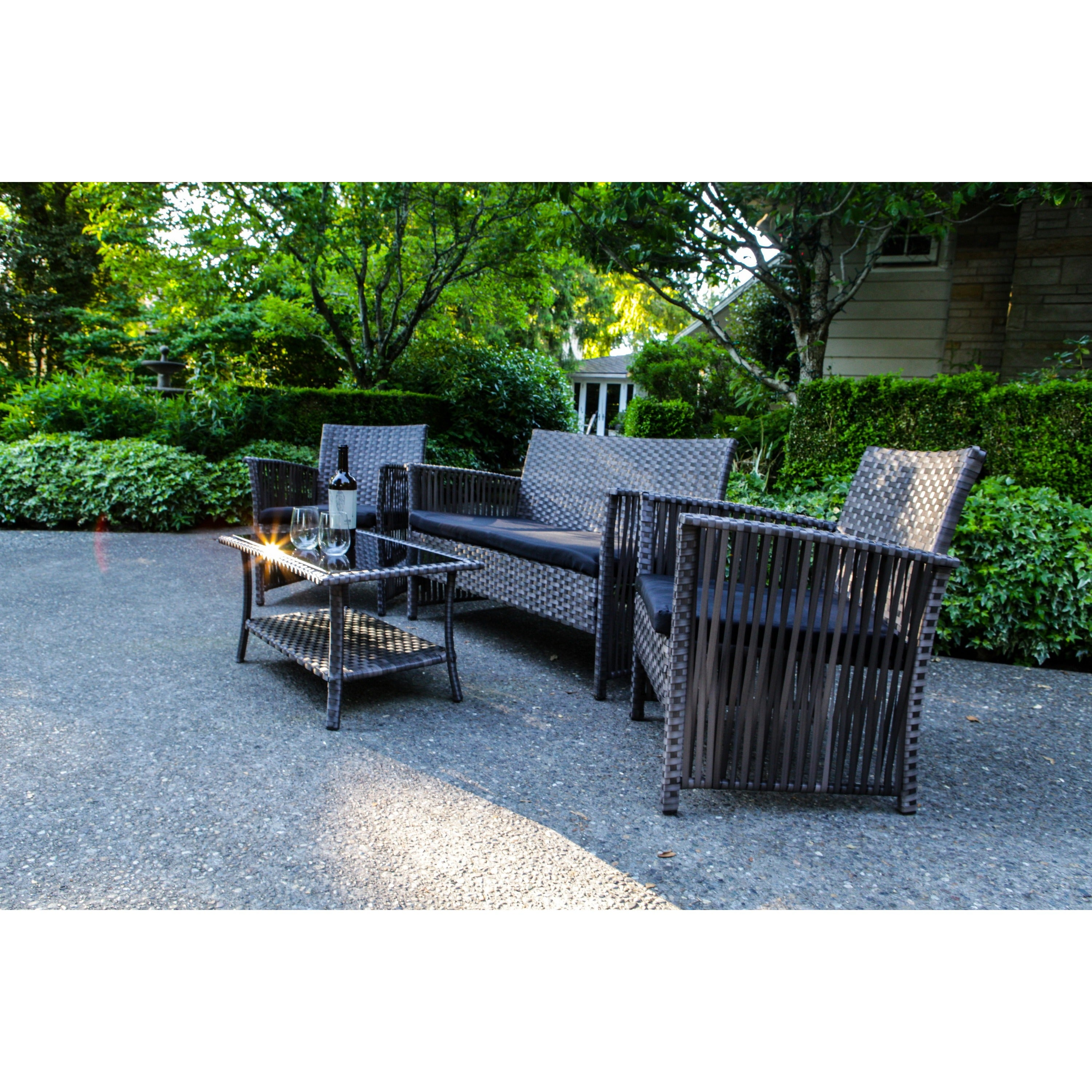 Sol Siesta Manhattan Beach Collection 4 Piece Cushioned Resin Wicker  Outdoor Patio Set   Free Shipping Today   Overstock   19153895