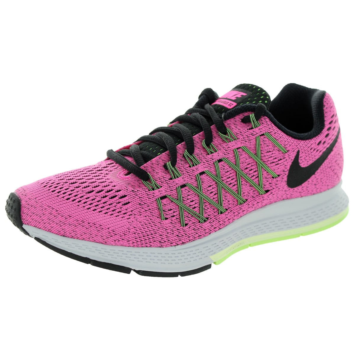 huge discount c0452 5fa9f Shop Nike Women s Air Zoom Pegasus 32 Pink Pow Black Brly Green Running  Shoe - Free Shipping Today - Overstock - 12321592