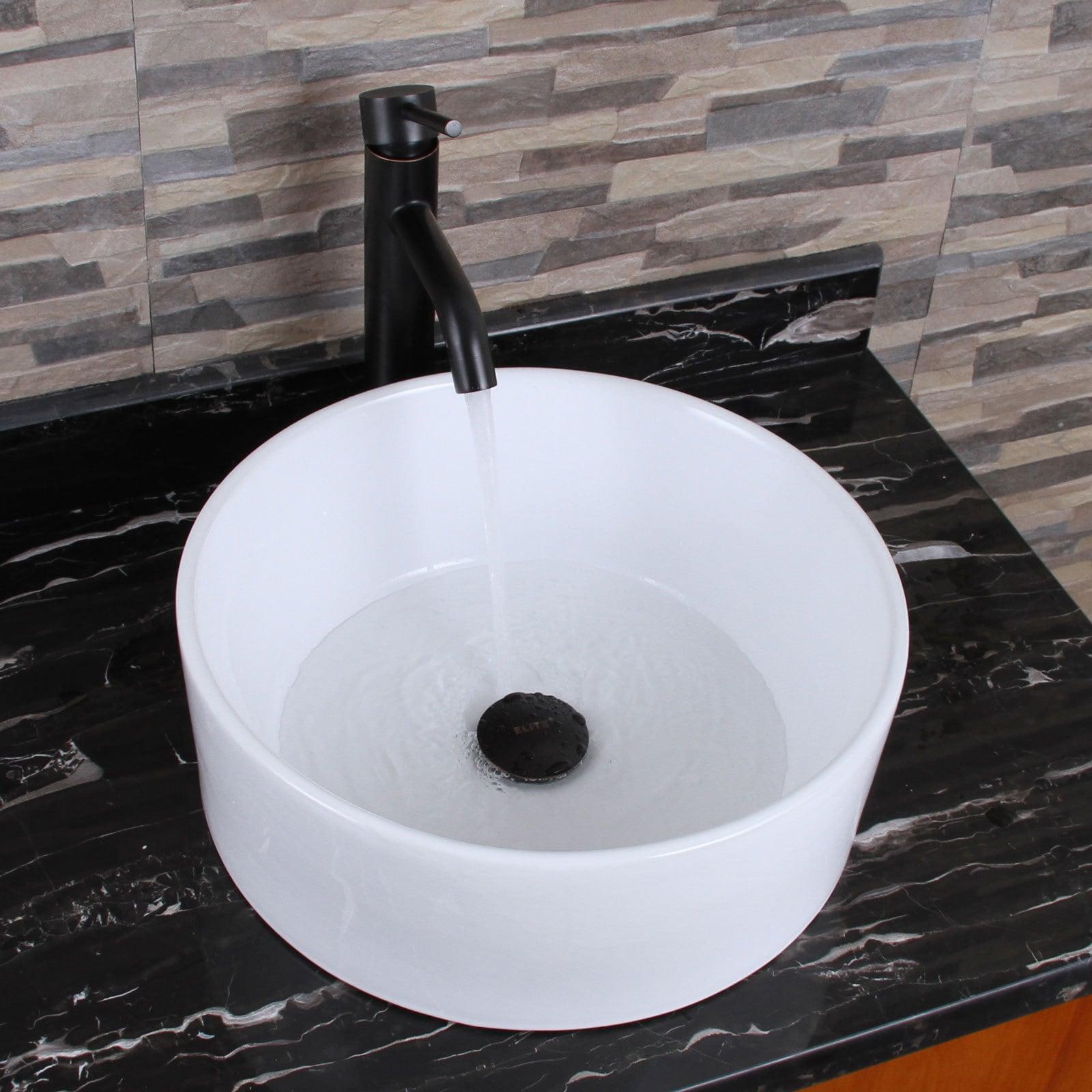 Elite Elimax 04 Round Shape White Porcelain Ceramic Bathroom Vessel ...