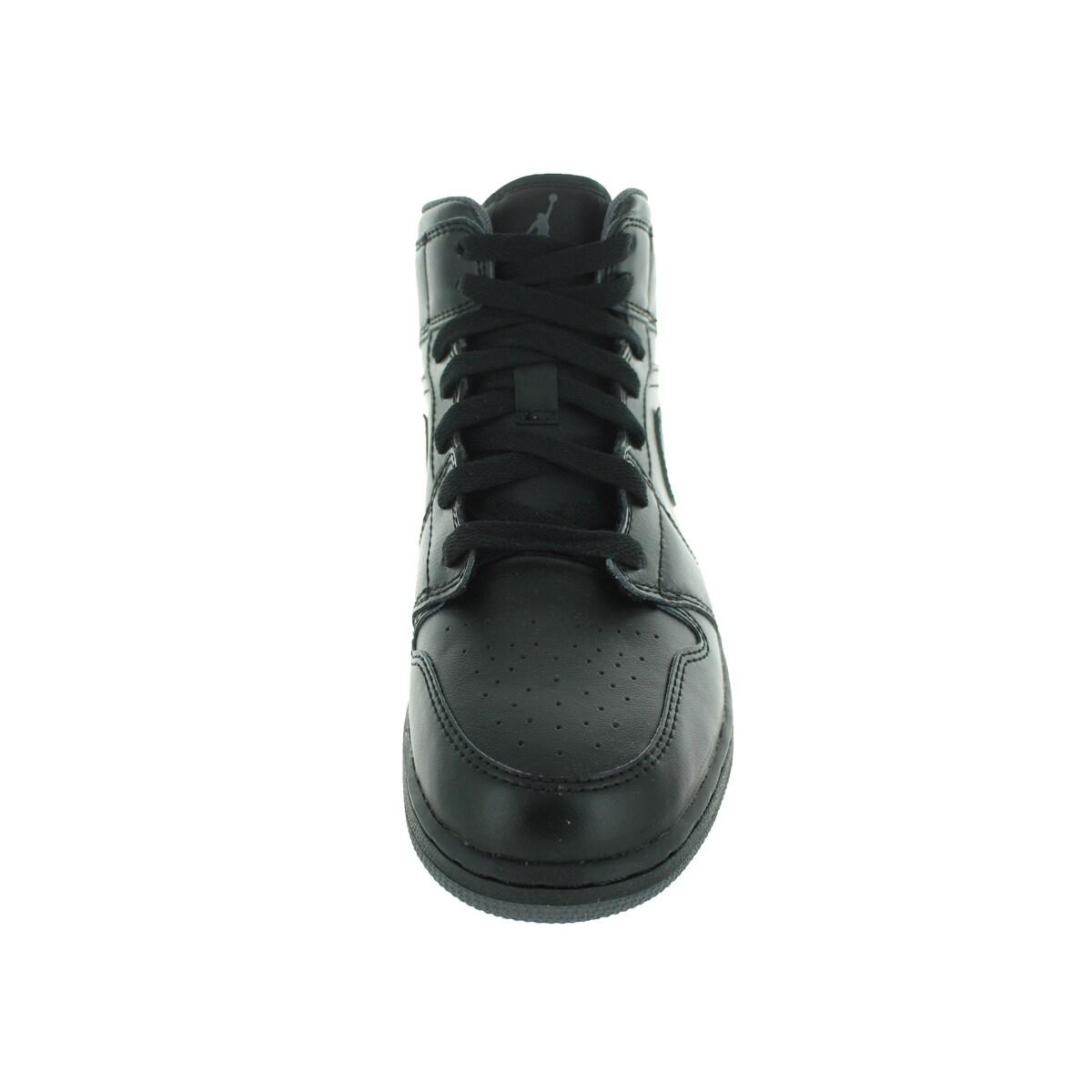 61409358a5b8 Shop Nike Jordan Kid s Air Jordan 1 Mid Bg Black Black Dark Grey Basketball  Shoe - Free Shipping Today - Overstock - 12321872