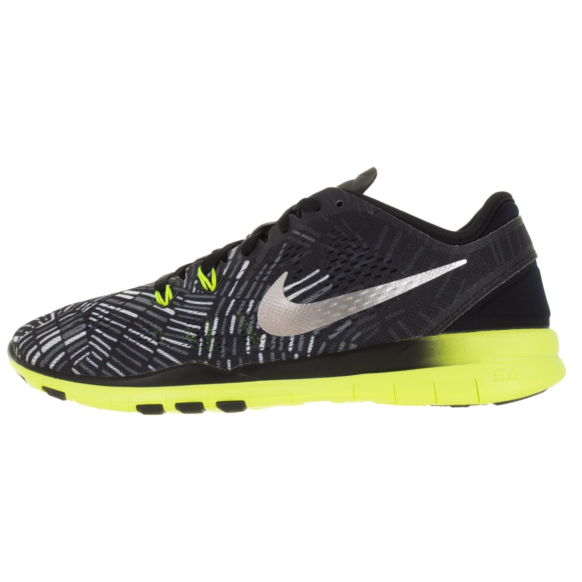 wholesale dealer f0a20 9a94e Shop Nike Women s Free 5.0 Tr Fit 5 Prt Black Metallic Silver Volt Training  Shoe - Free Shipping Today - Overstock - 12321940