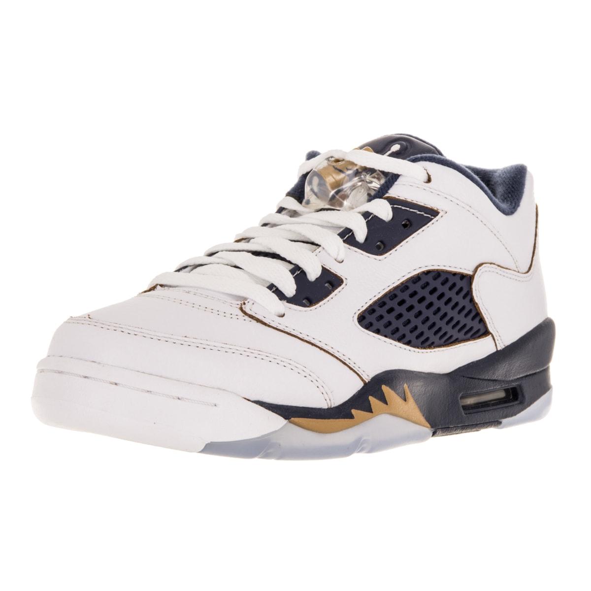 wholesale dealer a55e2 fa1cf Shop Nike Jordan Kid s Air Jordan 5 Retro Low (Gs) White Metallic Gold Mid  Navy Basketball Shoe - Free Shipping Today - Overstock - 12322034