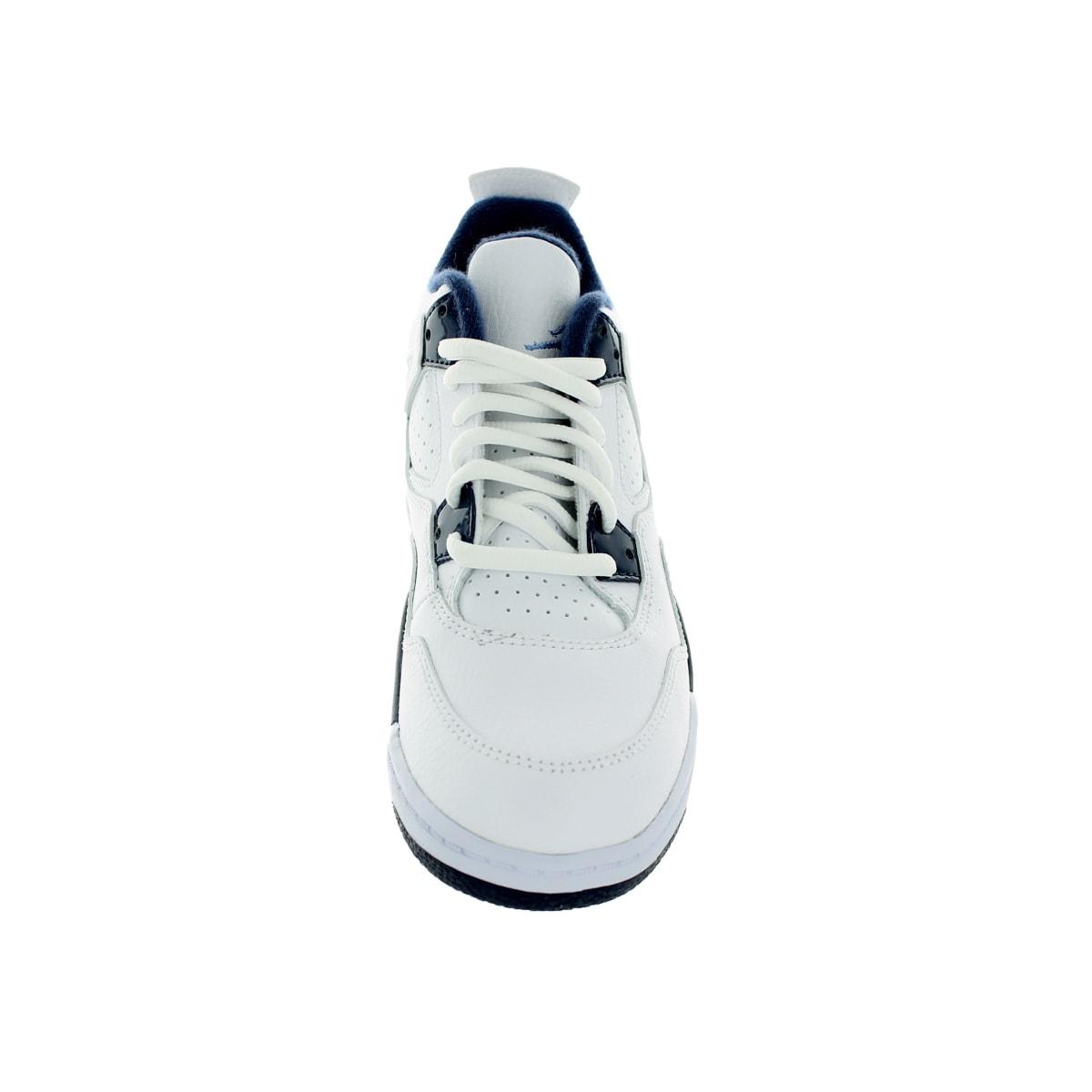 a3de3baa0b0e Shop Nike Jordan Kid s Jordan 4 Retro Ls Bp White Legend Blue Mdnght Navy  Basketball Shoe - Free Shipping Today - Overstock - 12322158