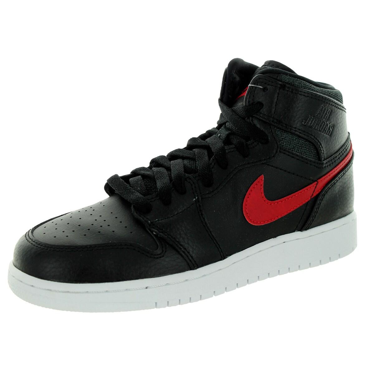 new concept 46708 73f52 Shop Nike Jordan Kid s Air Jordan 1 Retro High Bg Black Gym Red Black White  Basketball Shoe - Free Shipping Today - Overstock - 12322188