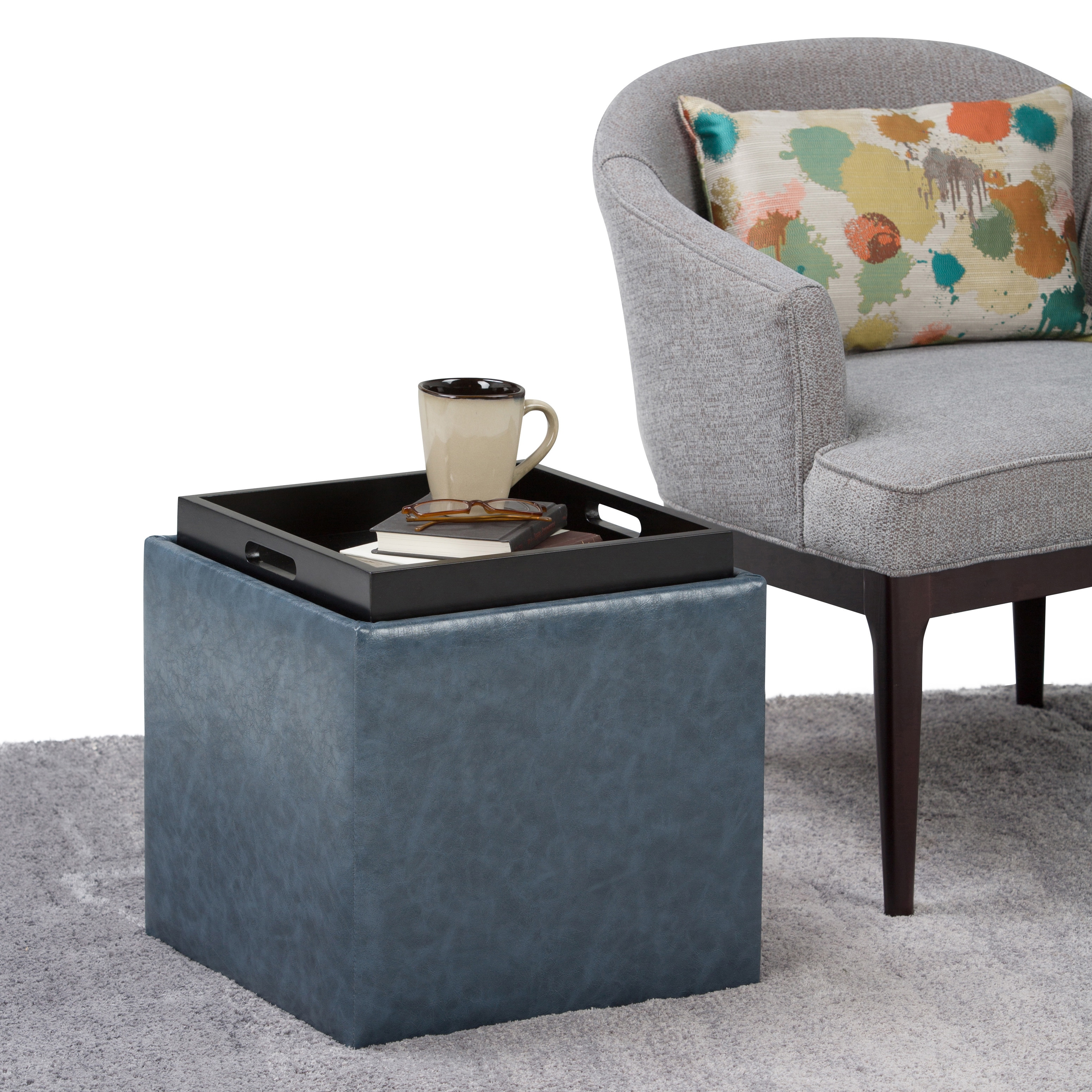 Exceptionnel Shop WYNDENHALL Townsend Cube Storage Ottoman With Tray   On Sale   Free  Shipping Today   Overstock.com   12322330