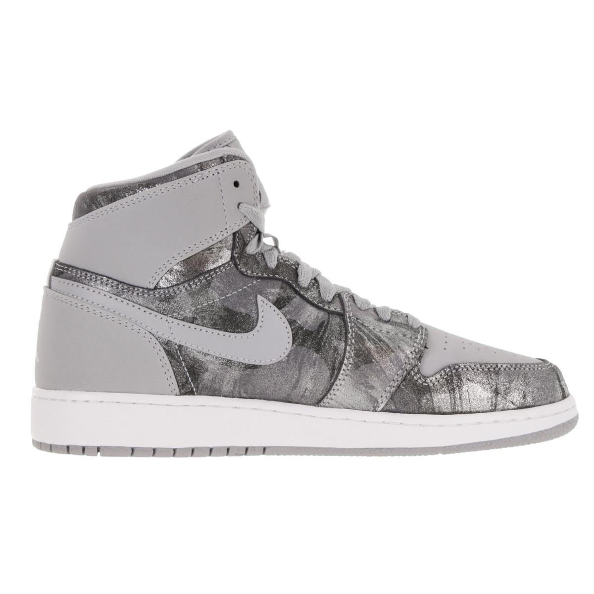 official photos a863b 4bc15 Shop Nike Jordan Kid s Air Jordan 1 Retro Hi Prem Gg Wolf Grey Metallic  Silver White Basketball Shoe - Free Shipping Today - Overstock - 12322372